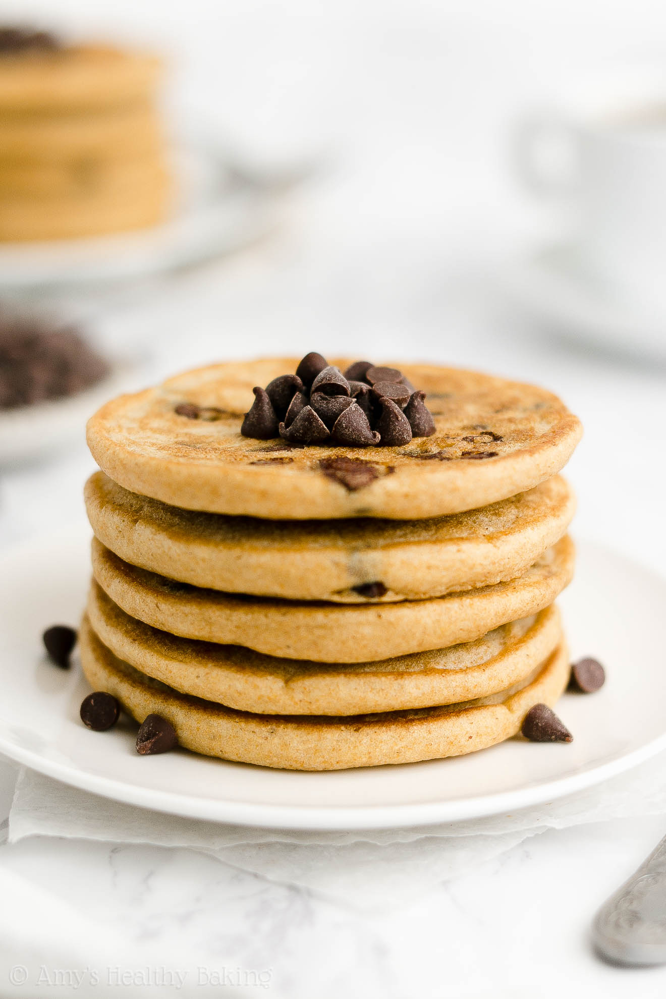 ULTIMATE Best Easy Healthy Gluten Free Vegan Fluffy Chocolate Chip Pancakes