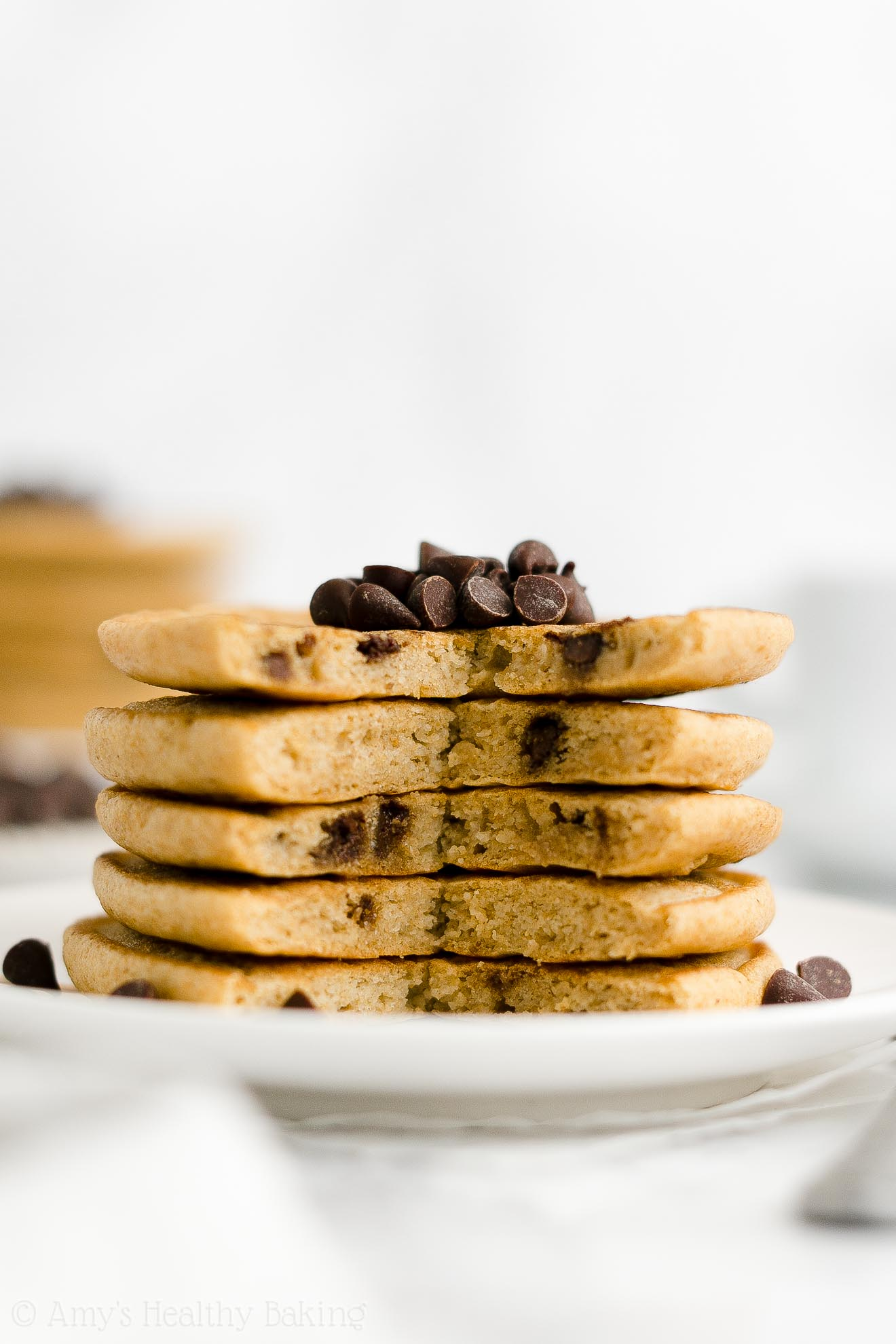 ULTIMATE Best Easy Healthy Clean Eating Low Sugar Chocolate Chip Pancakes