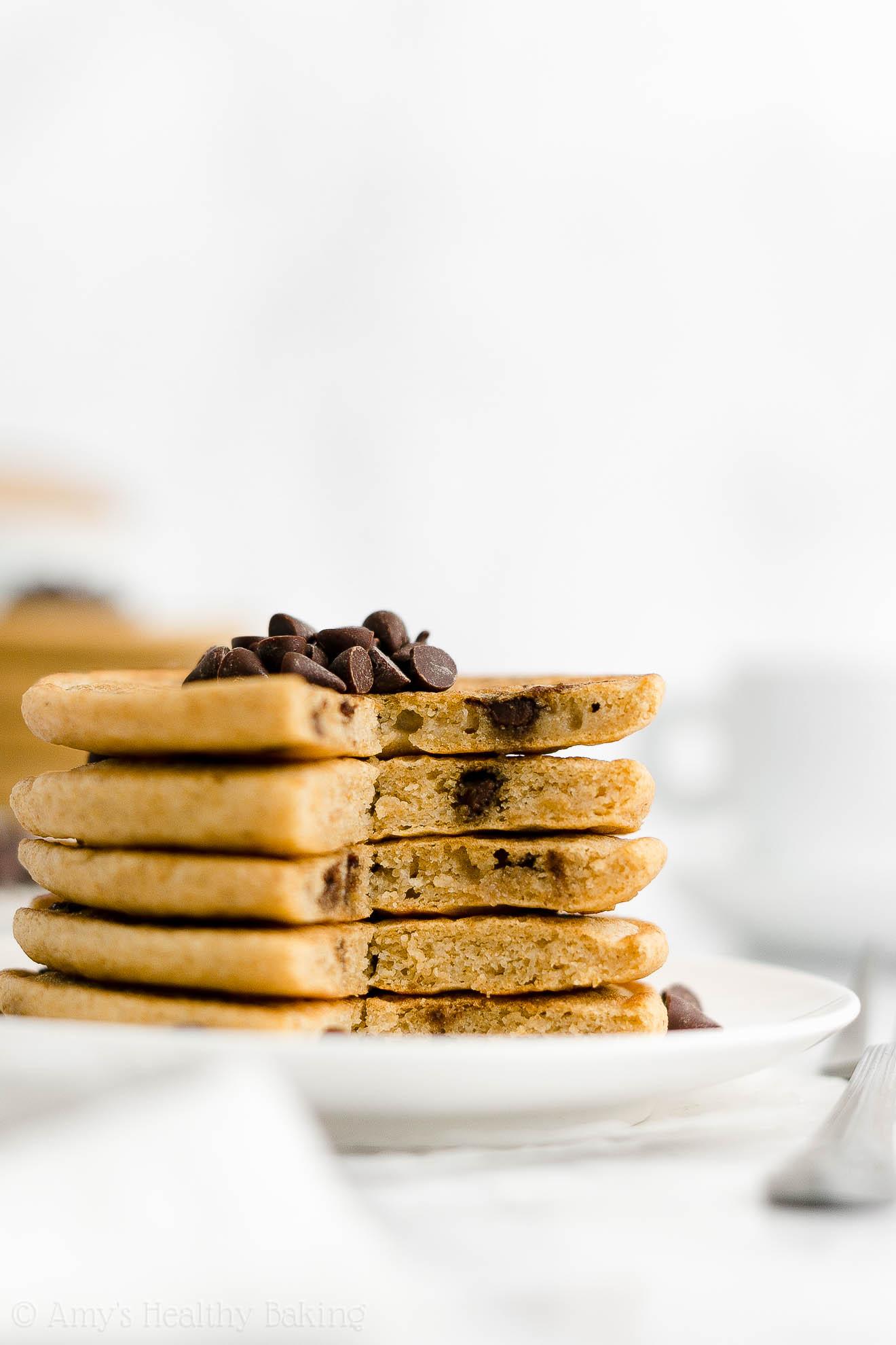 ULTIMATE Best Easy Healthy Whole Wheat Greek Yogurt Chocolate Chip Pancakes
