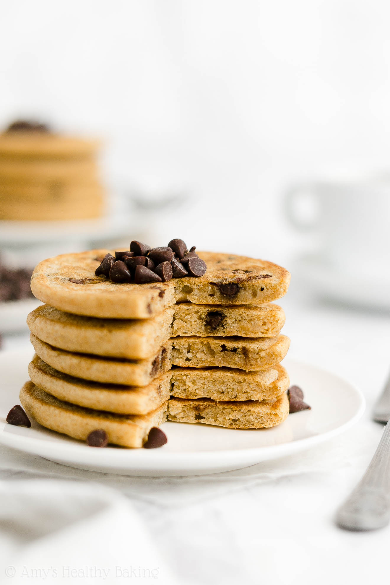 ULTIMATE Best Ever Easy Healthy Whole Wheat Fluffy Chocolate Chip Pancakes