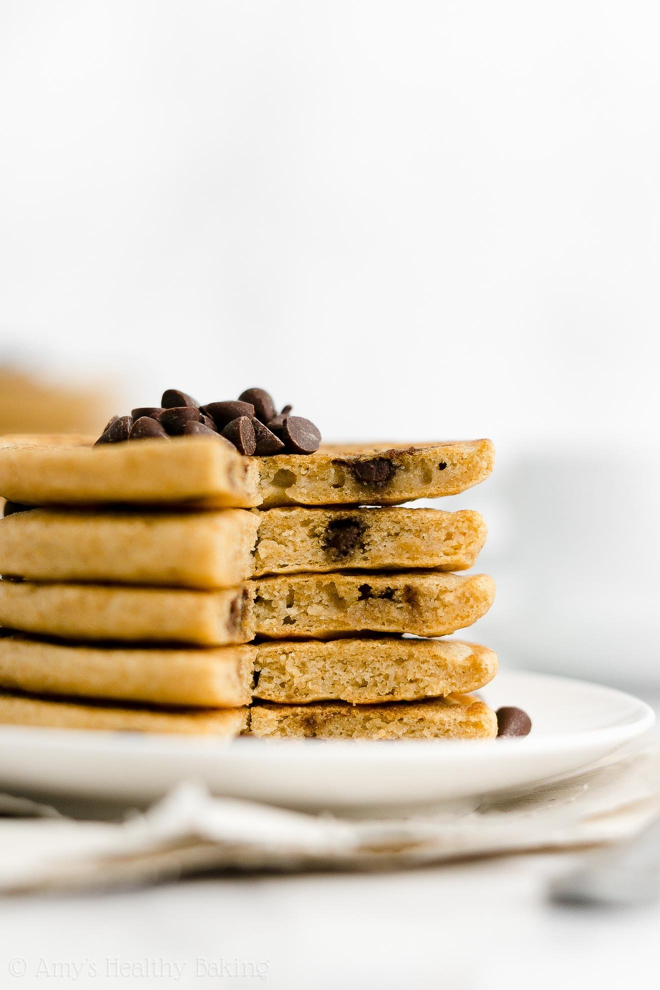 ULTIMATE Best Ever Easy Healthy Low Calorie Fluffy Chocolate Chip Pancakes
