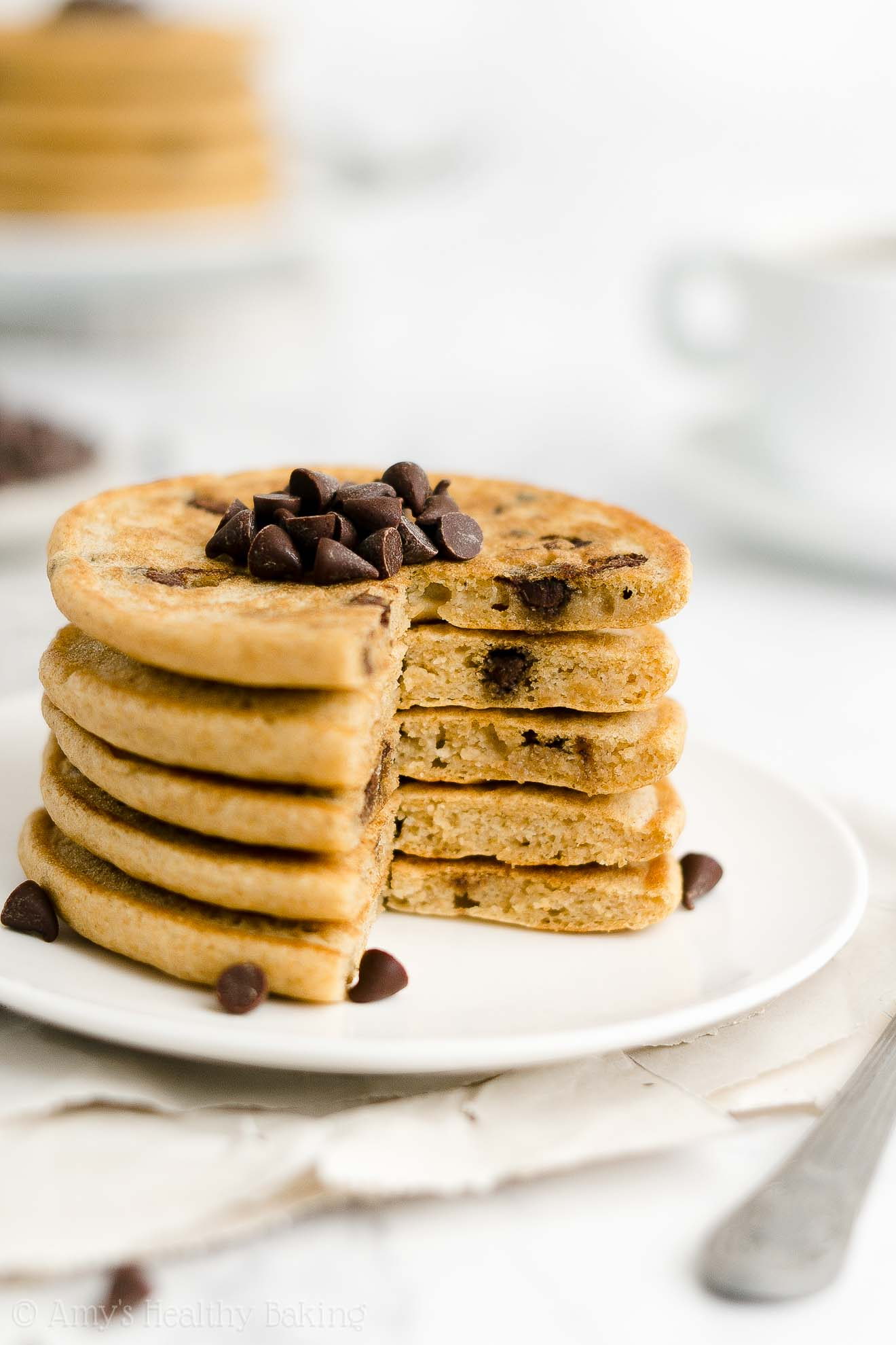 ULTIMATE Best Easy Healthy Low Fat Sugar Free Vegan Chocolate Chip Pancakes