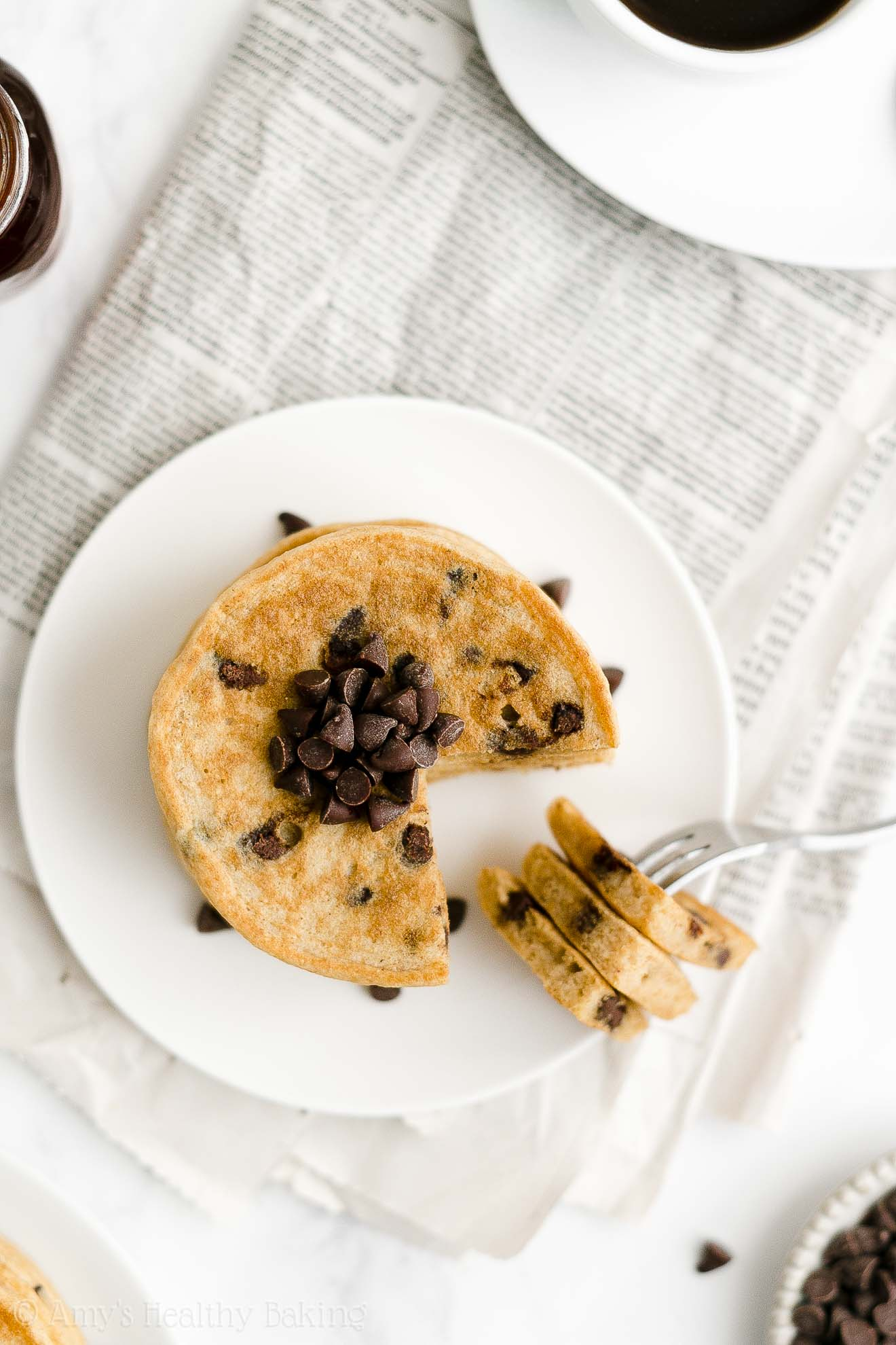ULTIMATE Best Easy Healthy Gluten Free Low Sugar Fluffy Chocolate Chip Pancakes