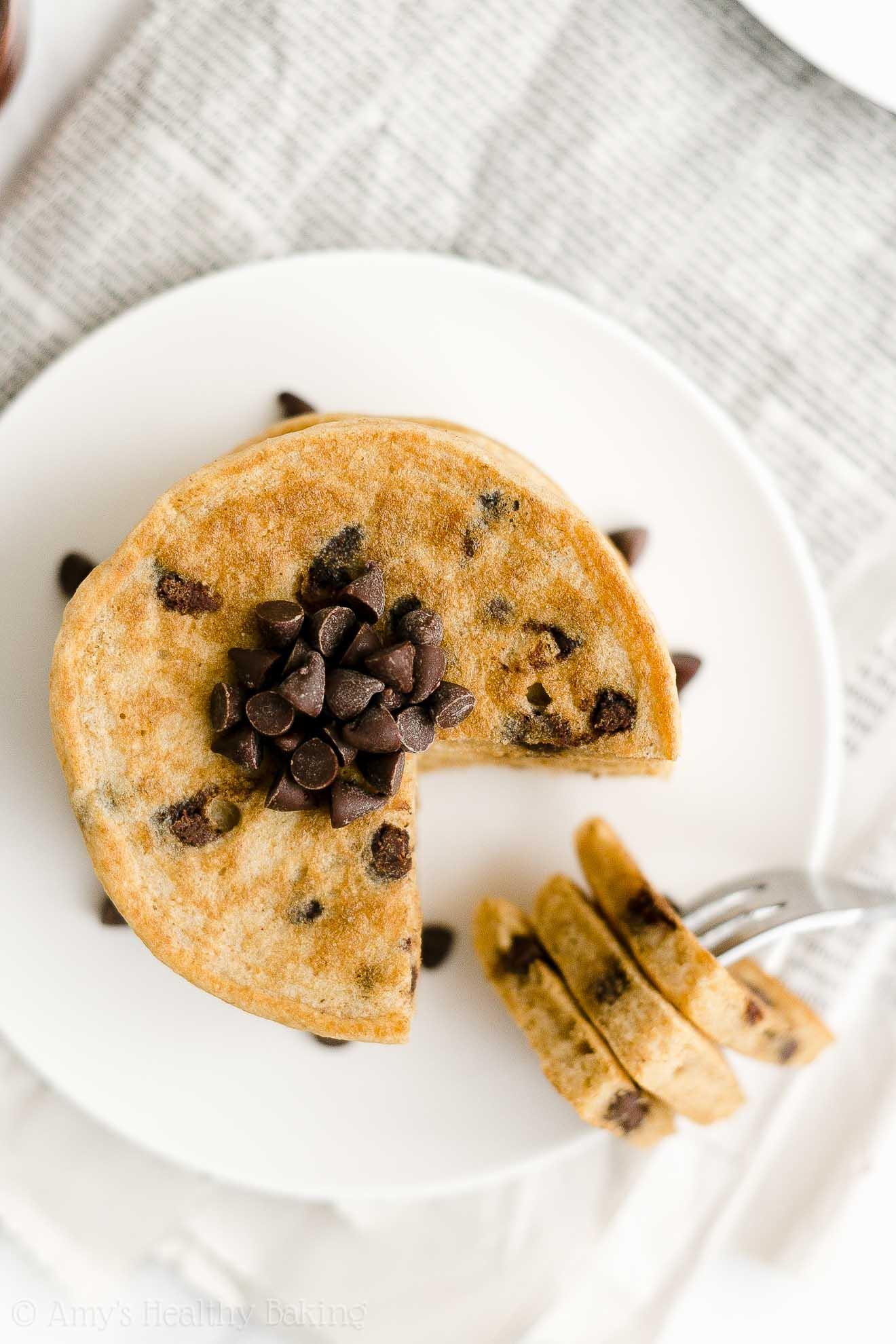 ULTIMATE Best Ever Easy Healthy Low Fat Greek Yogurt Chocolate Chip Pancakes