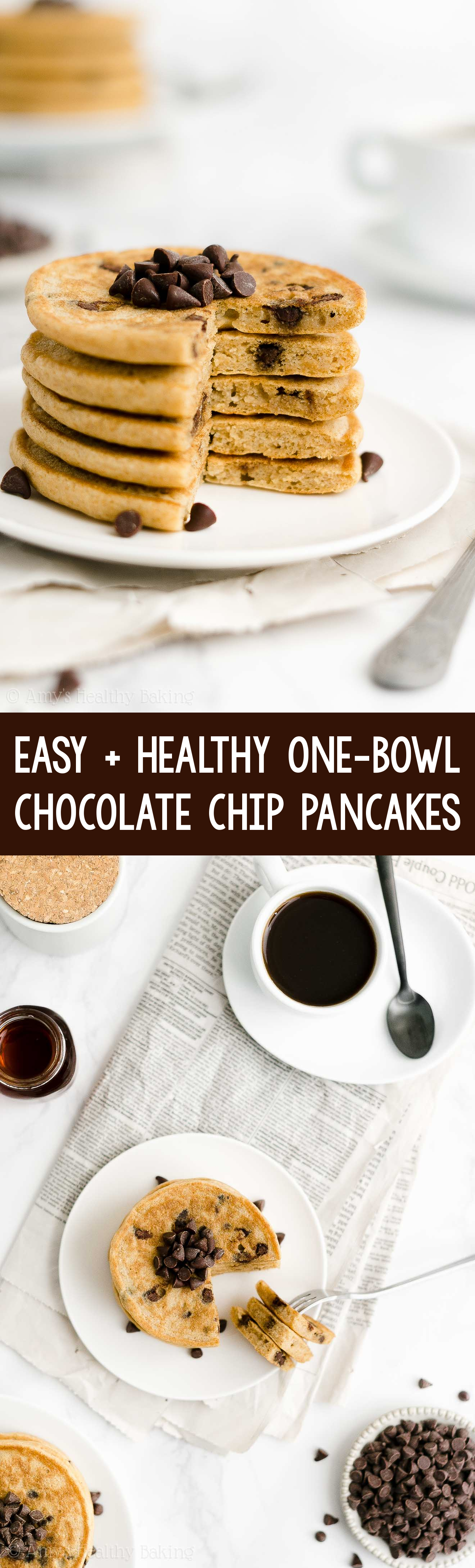 ULTIMATE Best Ever Easy Healthy Homemade Fluffy Chocolate Chip Pancakes From Scratch