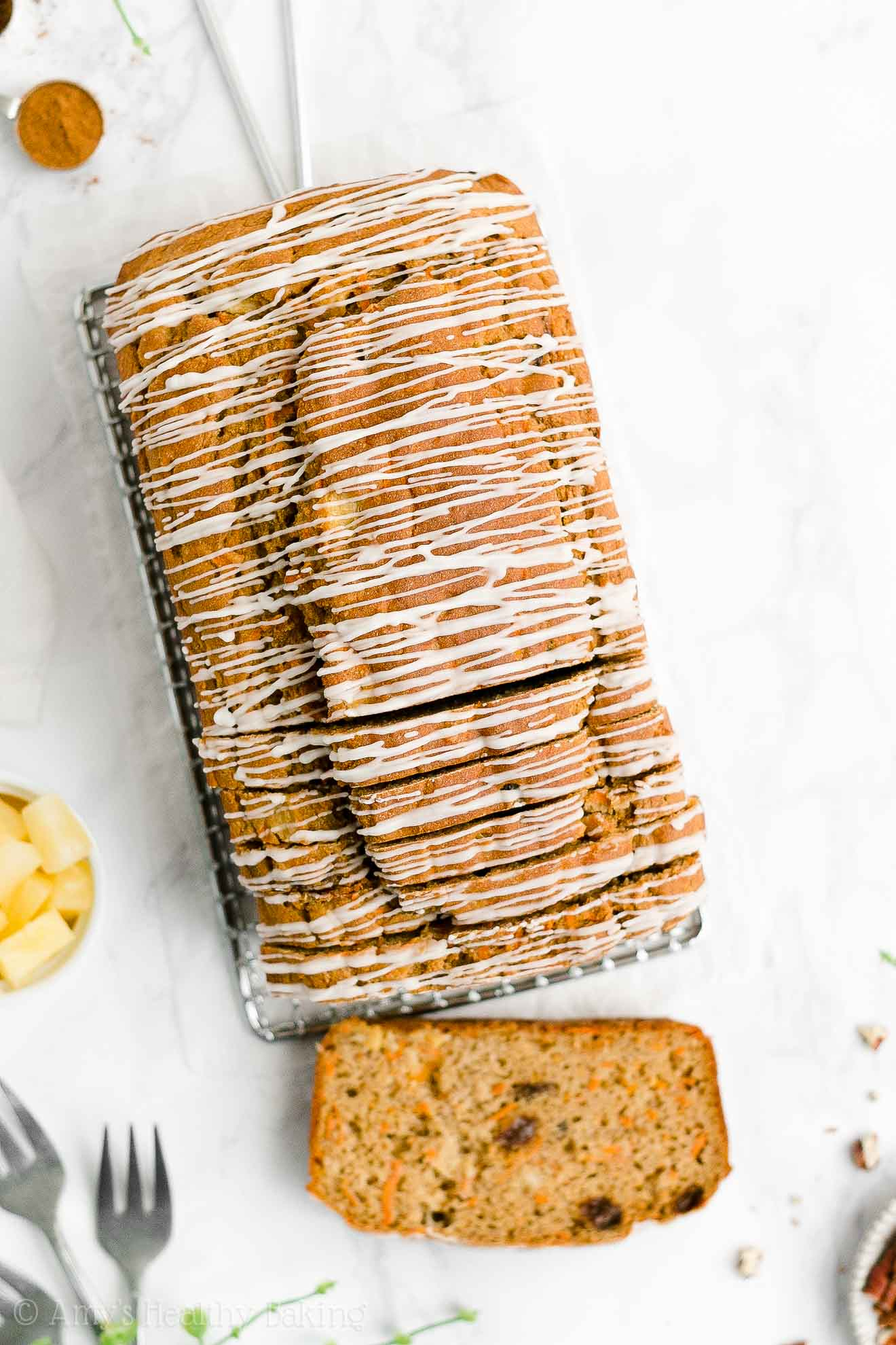 Best Easy Healthy Clean Eating Greek Yogurt Pineapple Raisin Carrot Pound Cake