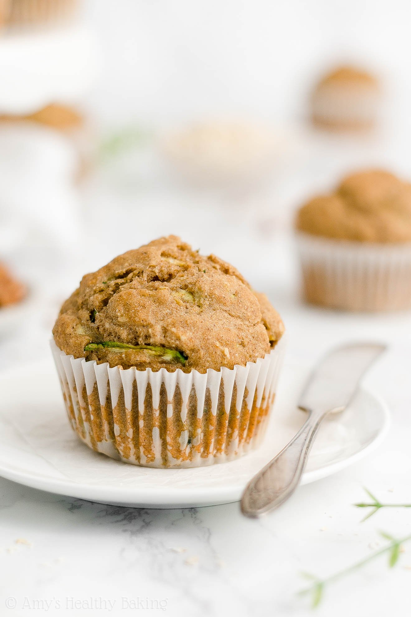 Best Easy Healthy Gluten Free Low Fat Moist Spiced Zucchini Oatmeal Muffins