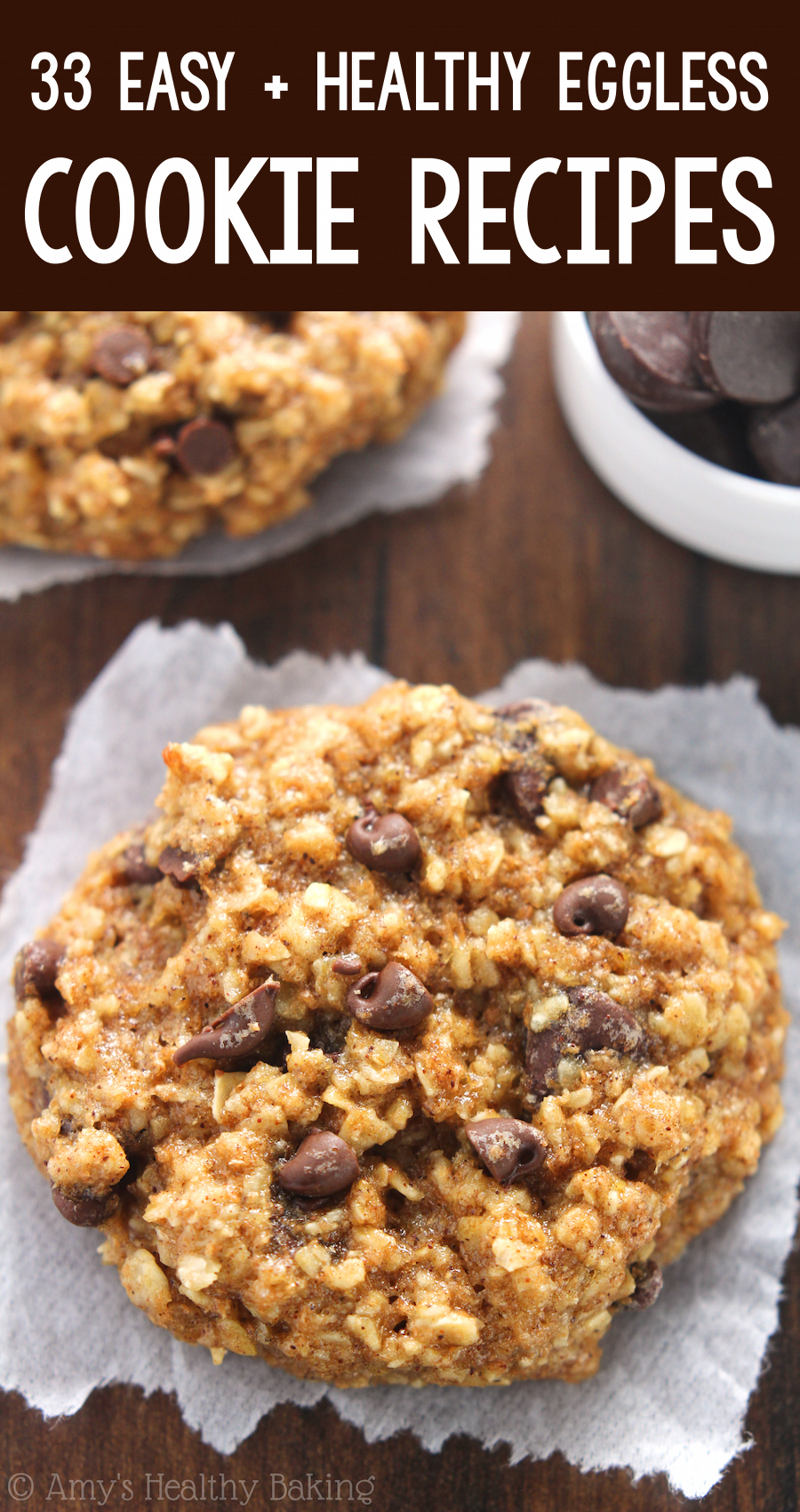 the BEST EVER healthy dairy-free eggless vegan banana chocolate chip oatmeal cookies