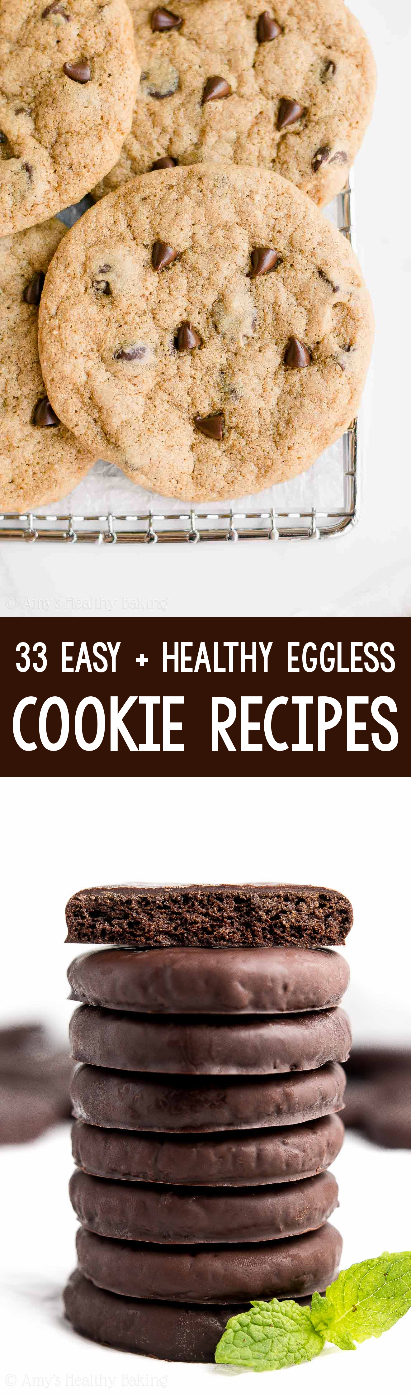 The BEST EVER healthy eggless vegan cookie recipes! Including 1-bowl chocolate chip cookies & healthy homemade Thin Mints!