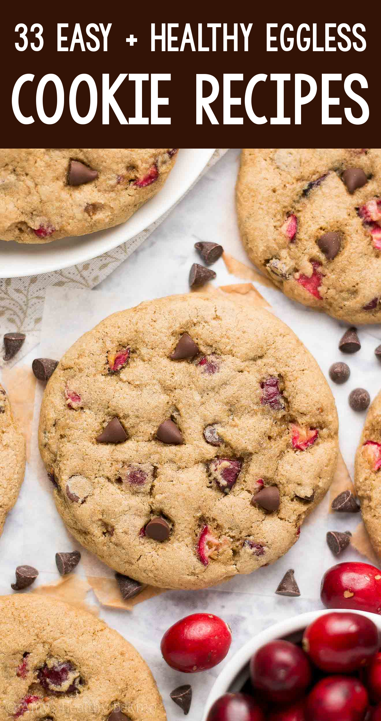 the BEST EVER healthy dairy-free eggless vegan cranberry chocolate chip cookies