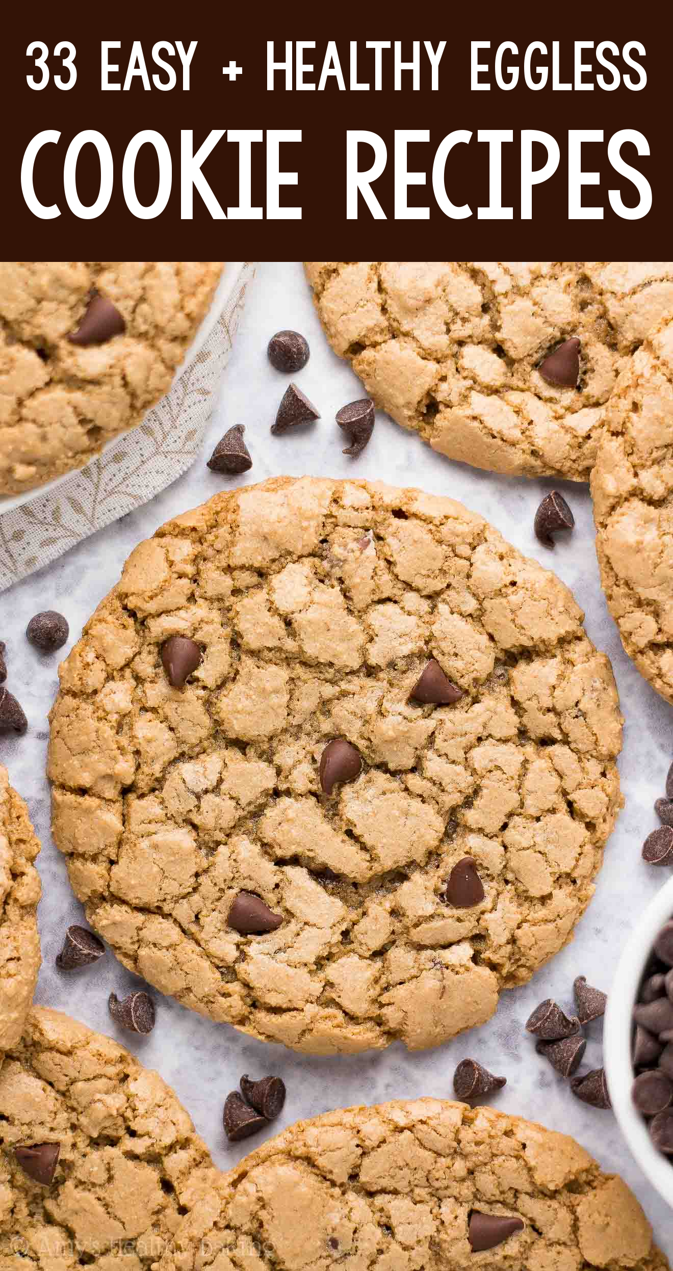 the BEST EVER healthy chewy flourless dairy-free eggless vegan chocolate chip cookies