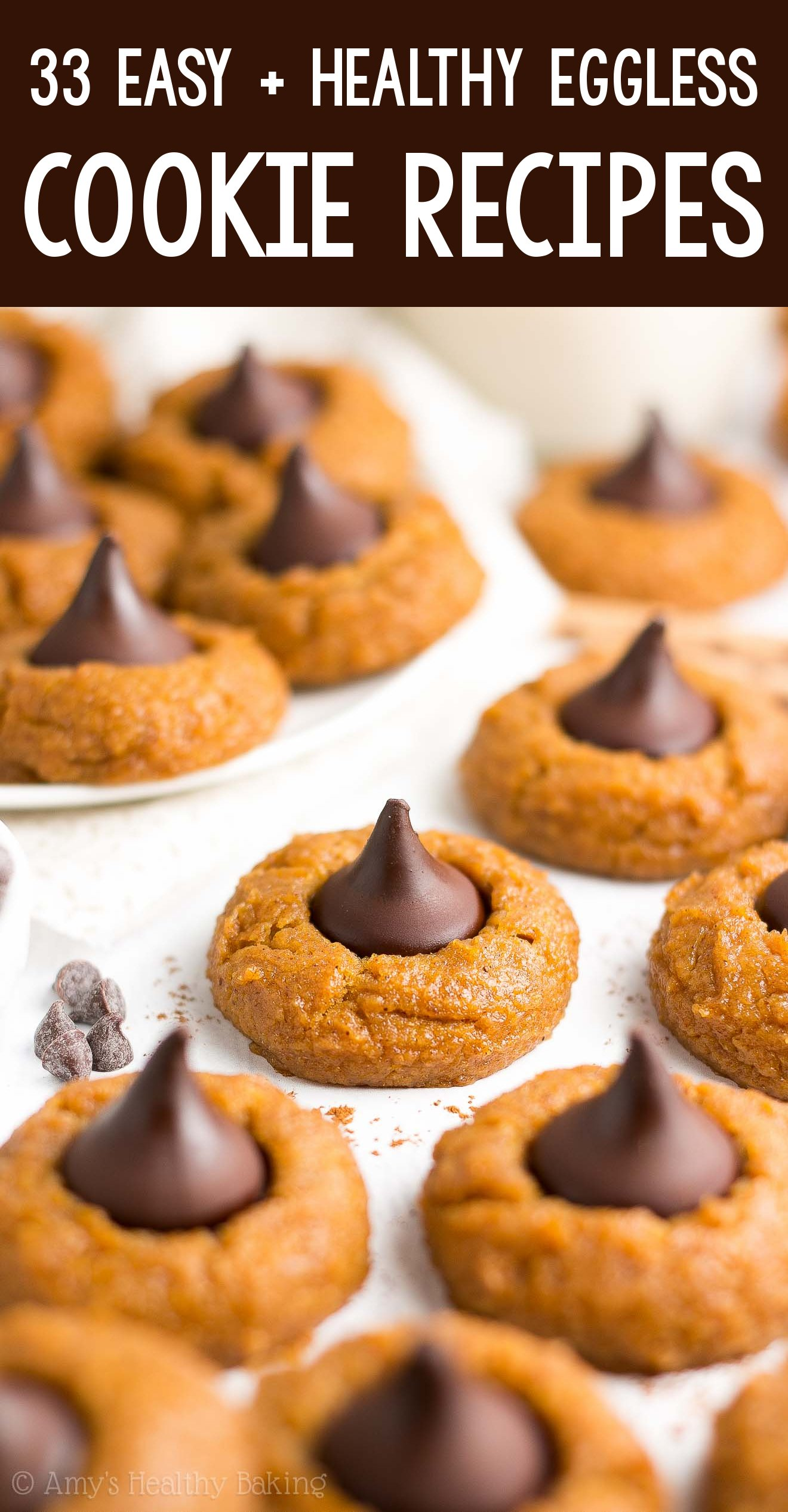 the BEST EVER healthy soft chewy eggless pumpkin dark chocolate kiss blossom cookies
