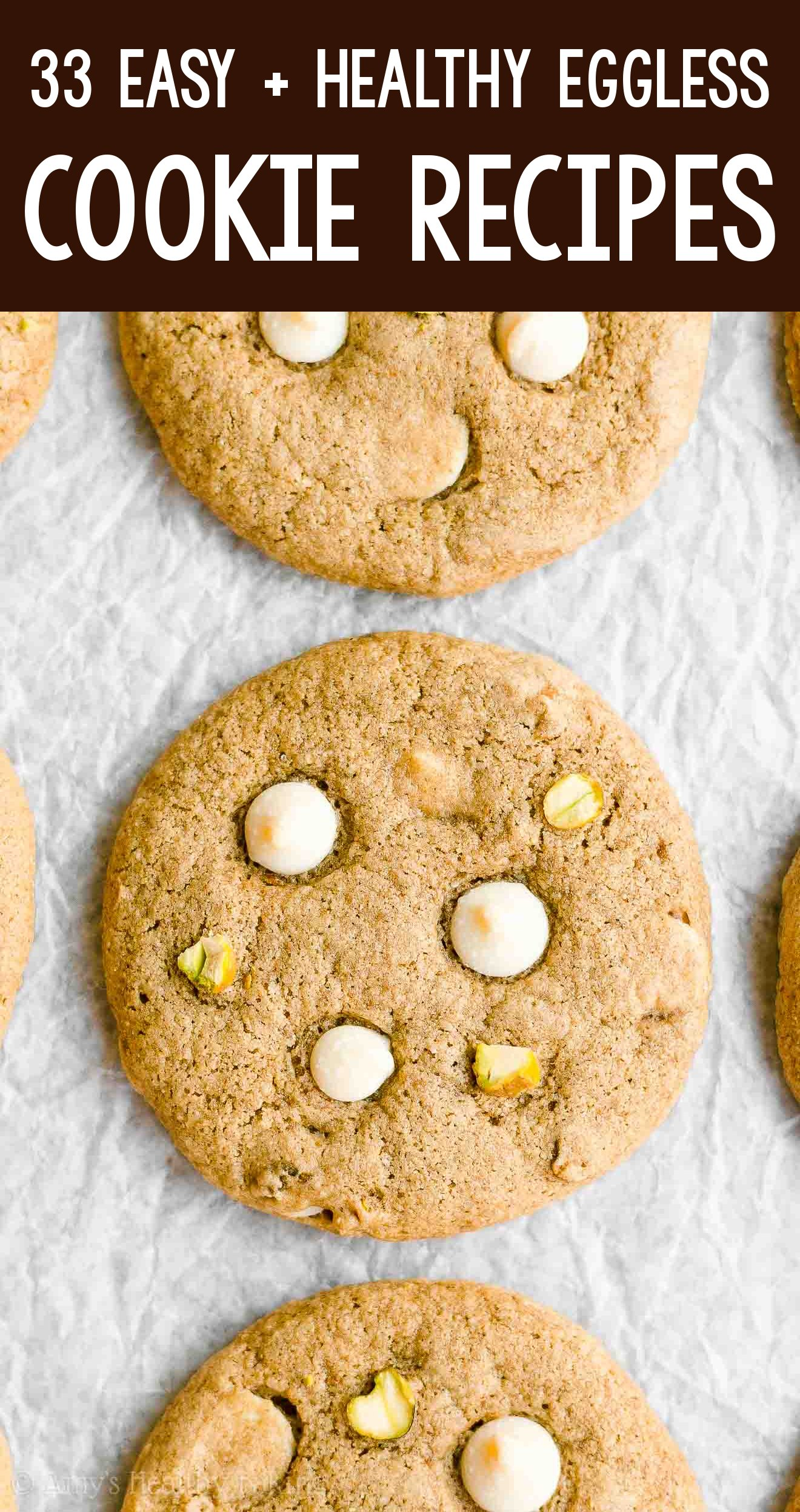 the BEST EVER healthy soft chewy eggless white chocolate pistachio cookies