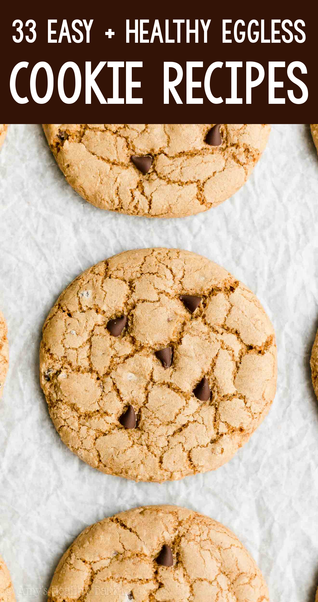 the BEST EVER healthy dairy-free eggless vegan crunchy chocolate chip cookies