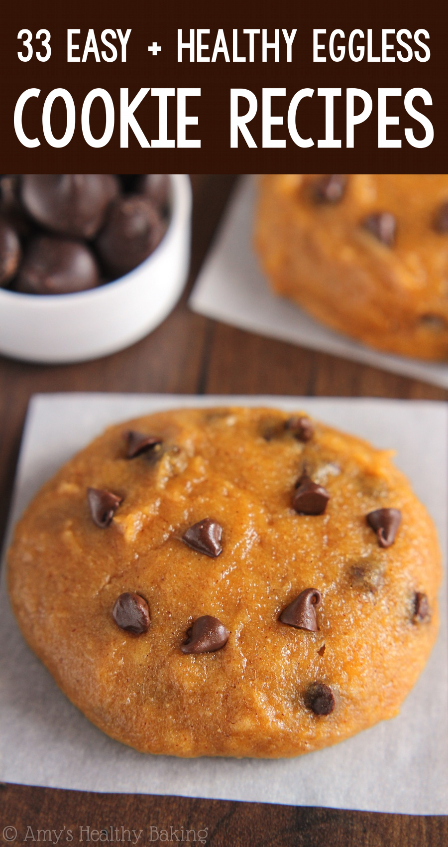 the BEST EVER healthy dairy-free eggless vegan pumpkin chocolate chip cookies