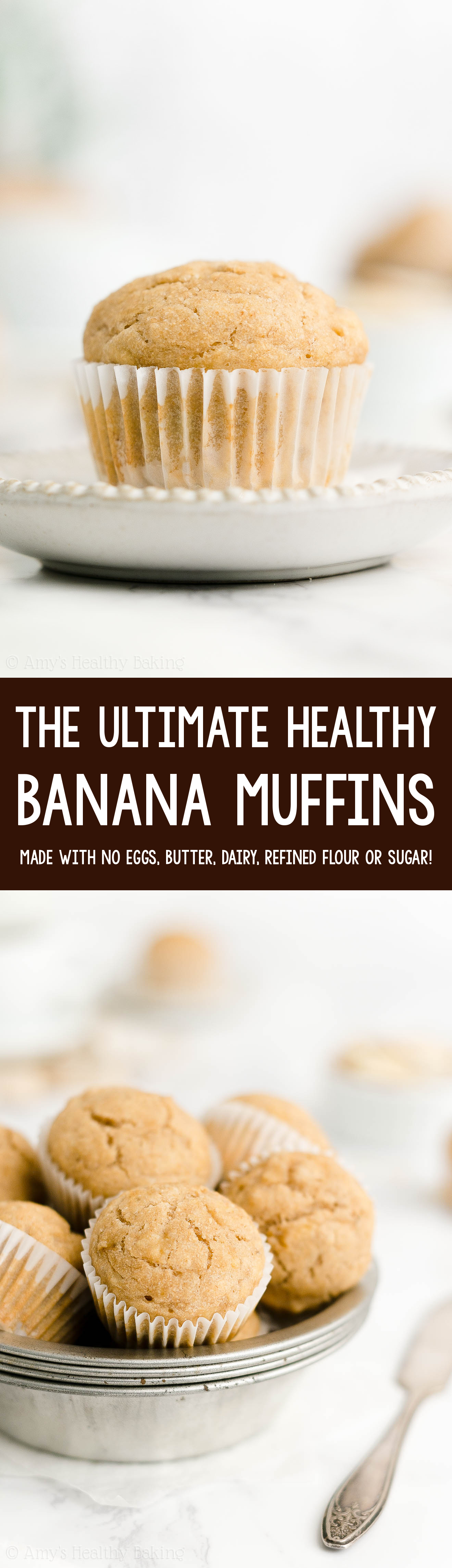 ULTIMATE Best Ever Easy Healthy Low Calorie Sugar Free Vegan Banana Muffins