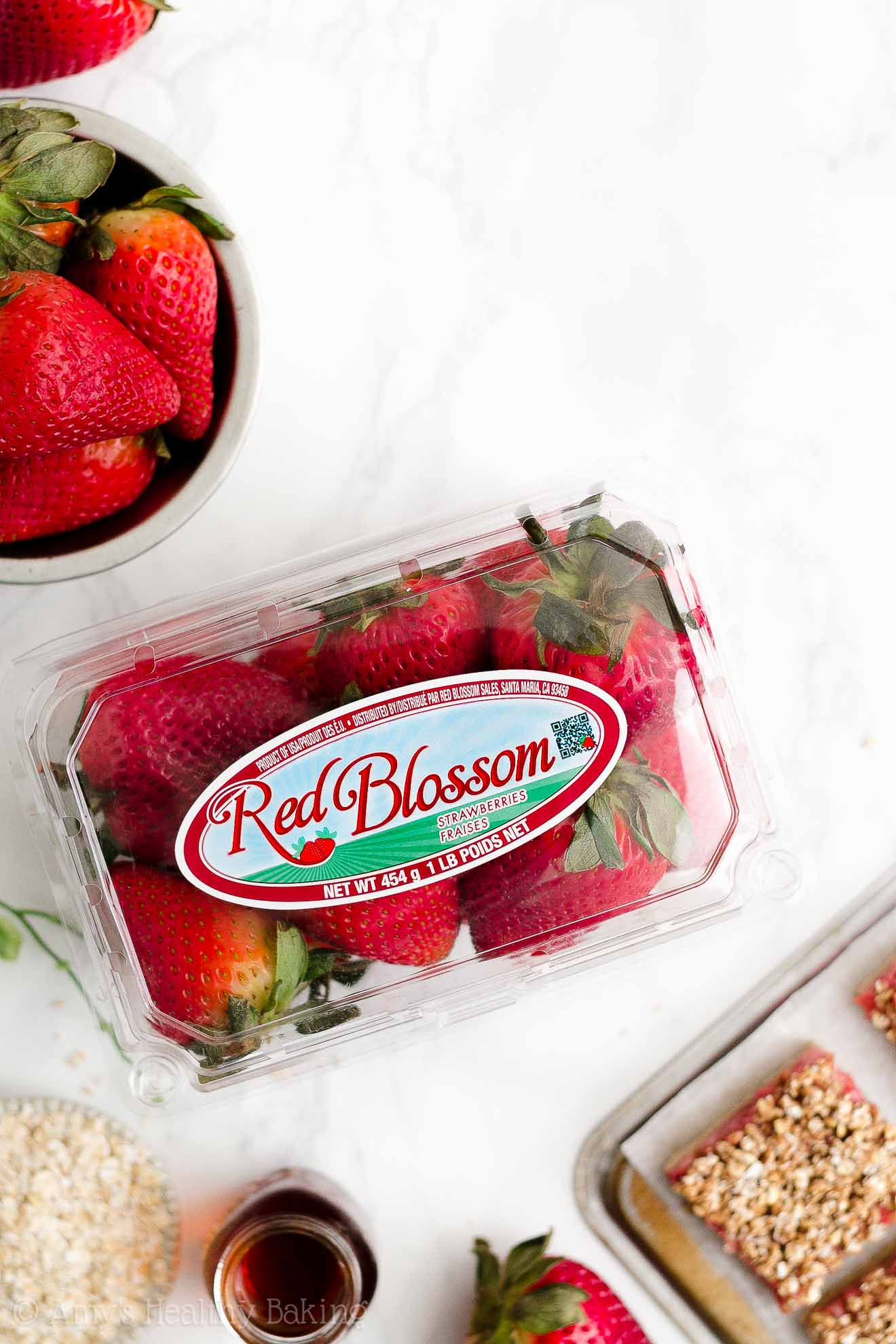 Best Healthy Strawberry Crumble Bars made with Red Blossom fresh strawberries