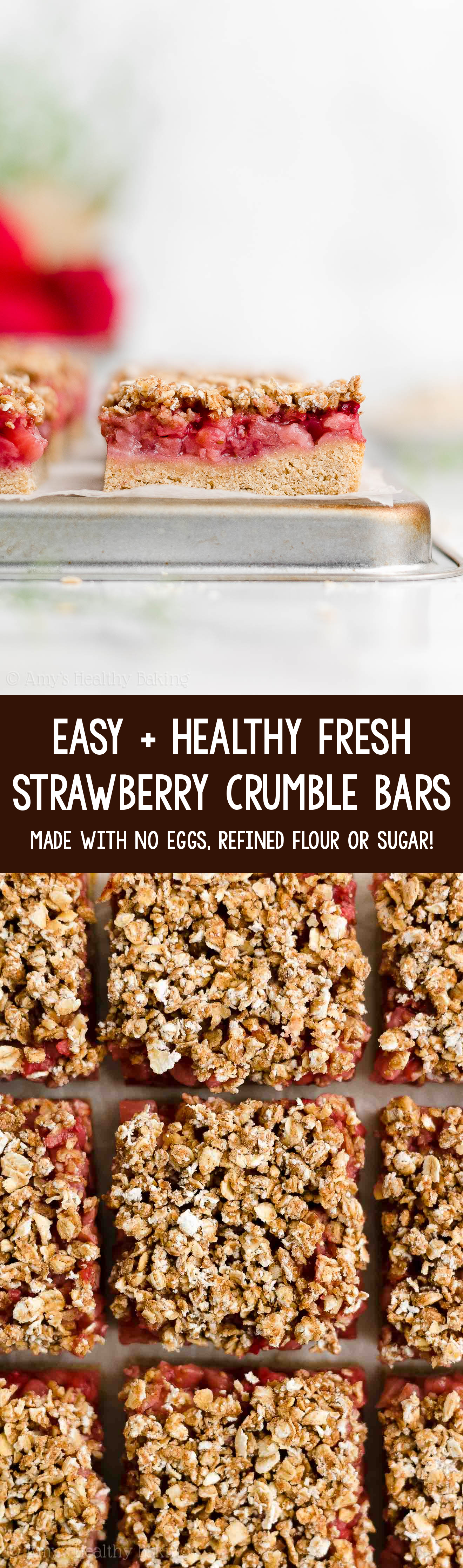 Best Easy Healthy Clean Eating Np Sugar Vegan Strawberry Oatmeal Crumble Bars