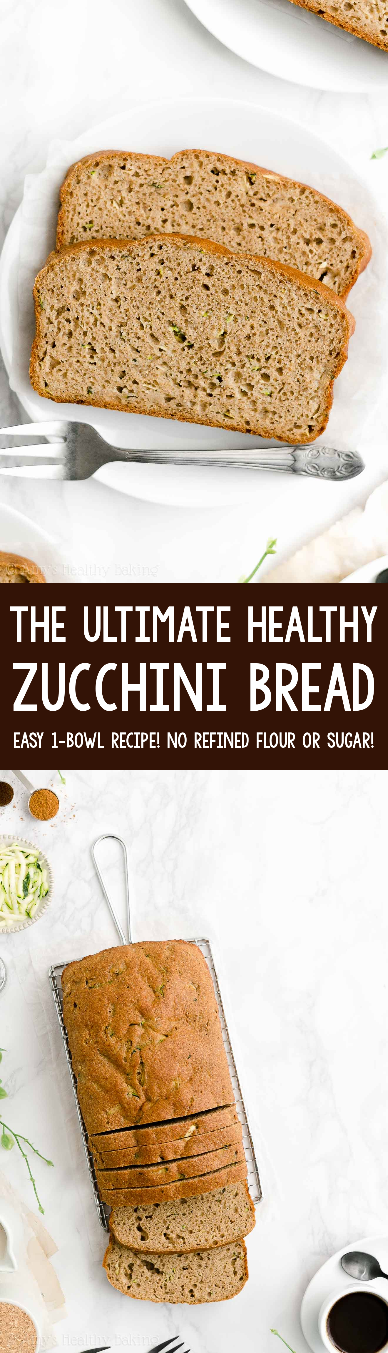 ULTIMATE Best Ever Easy Healthy Moist Greek Yogurt No Sugar Zucchini Bread