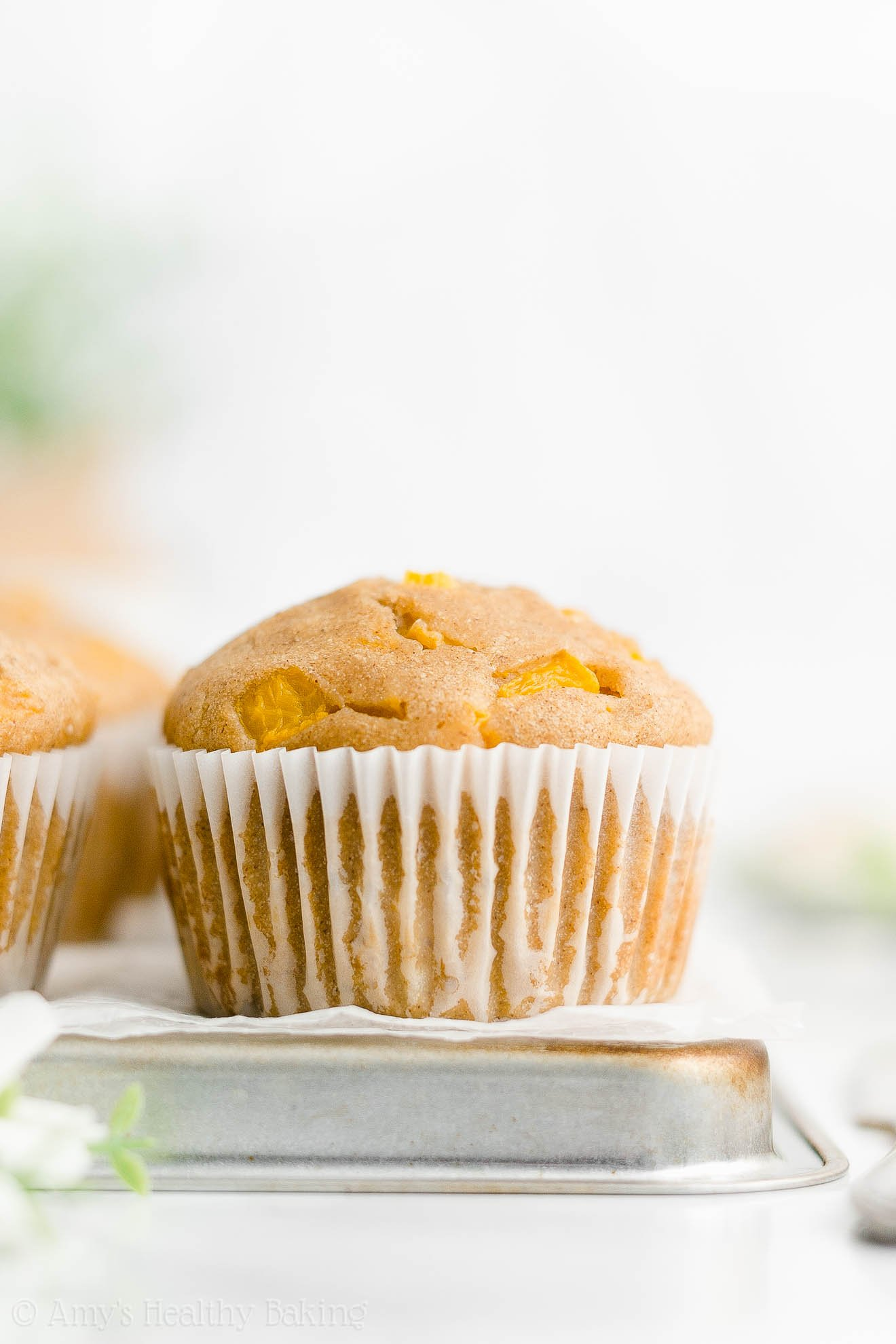 ULTIMATE Best Ever Easy Healthy Homemade Sugar Free Fresh Peach Muffins