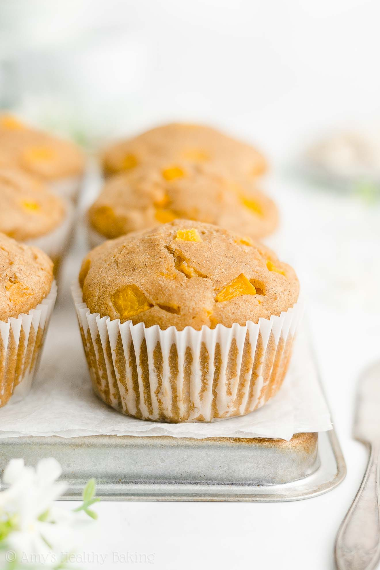 Best Easy Healthy Homemade Low Calorie No Sugar Gluten Free Peach Muffins