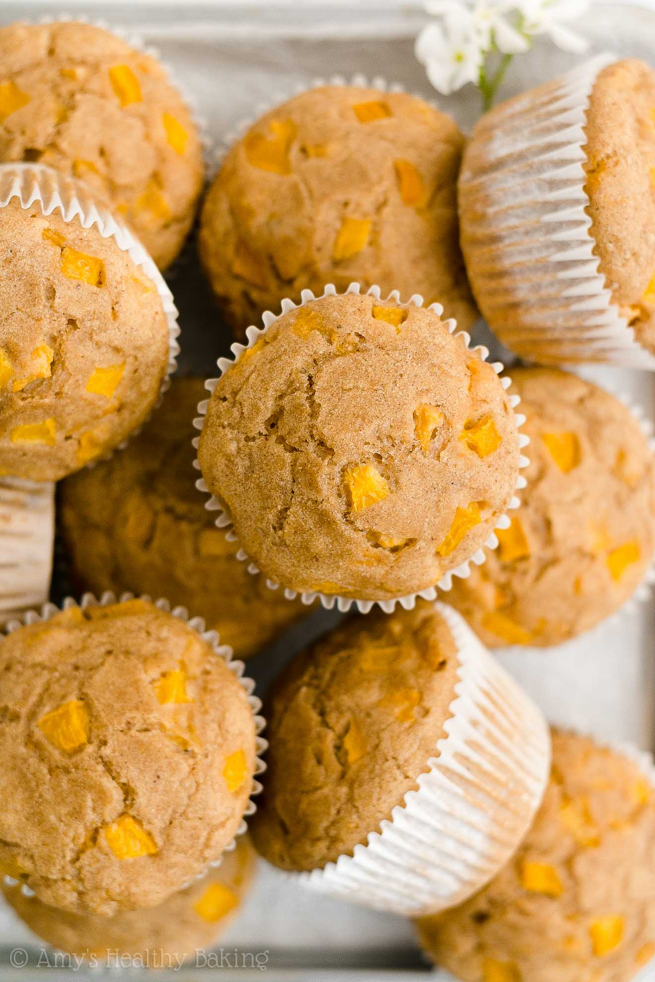 Best Easy Healthy Clean Low Calorie Sugar Free Moist Canned Peach Muffins