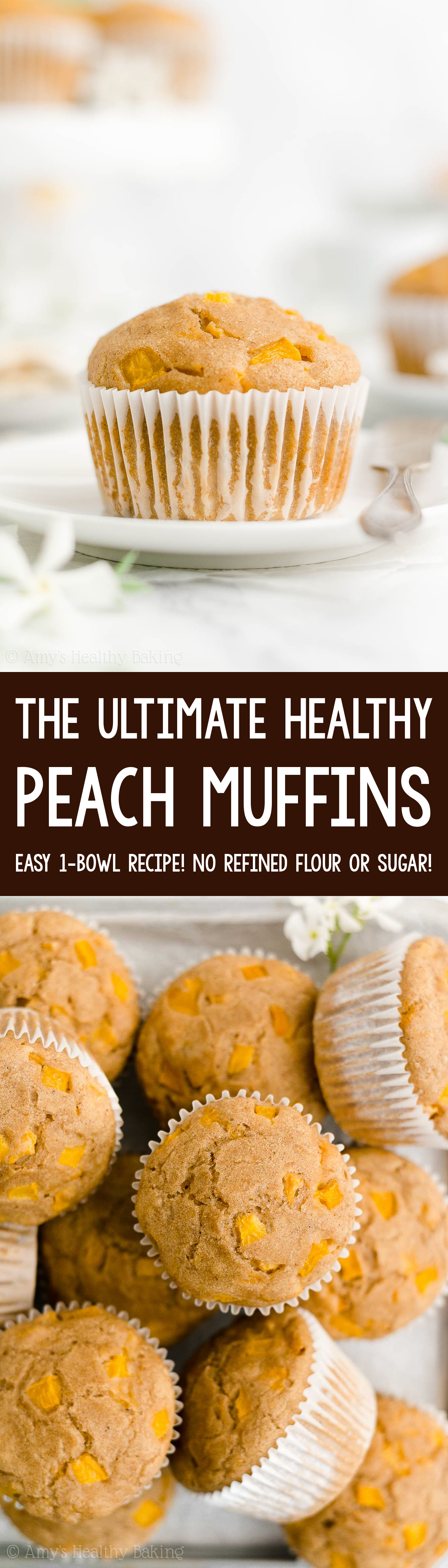 ULTIMATE Best Easy Healthy Sugar Free Greek Yogurt Peach Muffins with Fresh or Canned Peaches