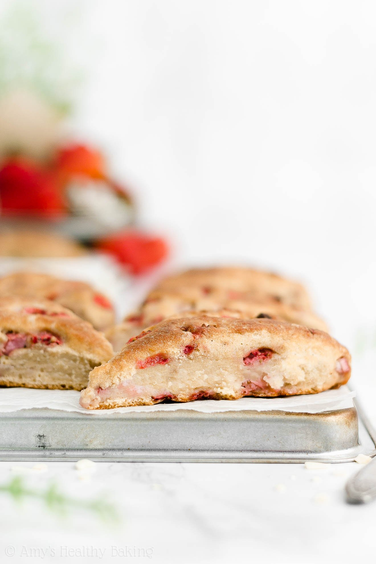 Best Easy Healthy Clean Eating Whole Wheat Greek Yogurt Strawberry Scones
