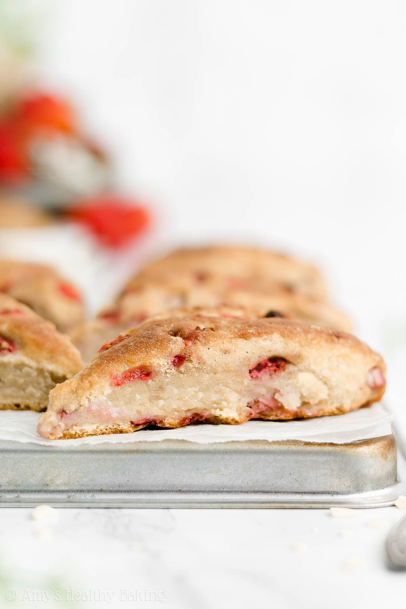 Best Easy Healthy Clean Eating Whole Wheat Eggless Moist Strawberry Scones