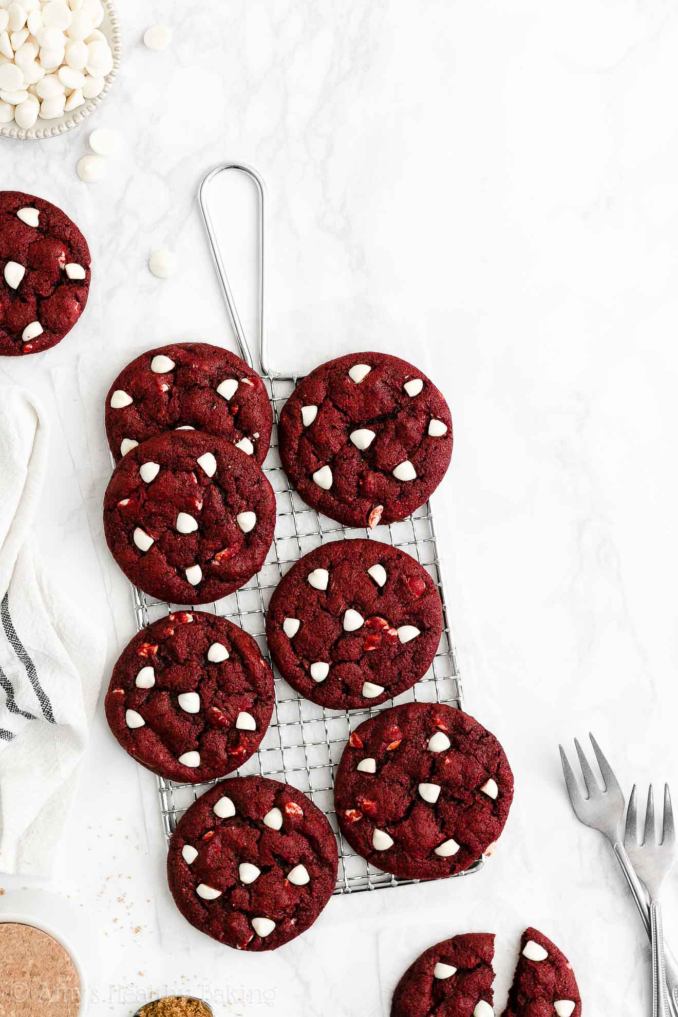 Easy Healthy Gluten Free Vegan White Chocolate Red Velvet Cookies No Eggs