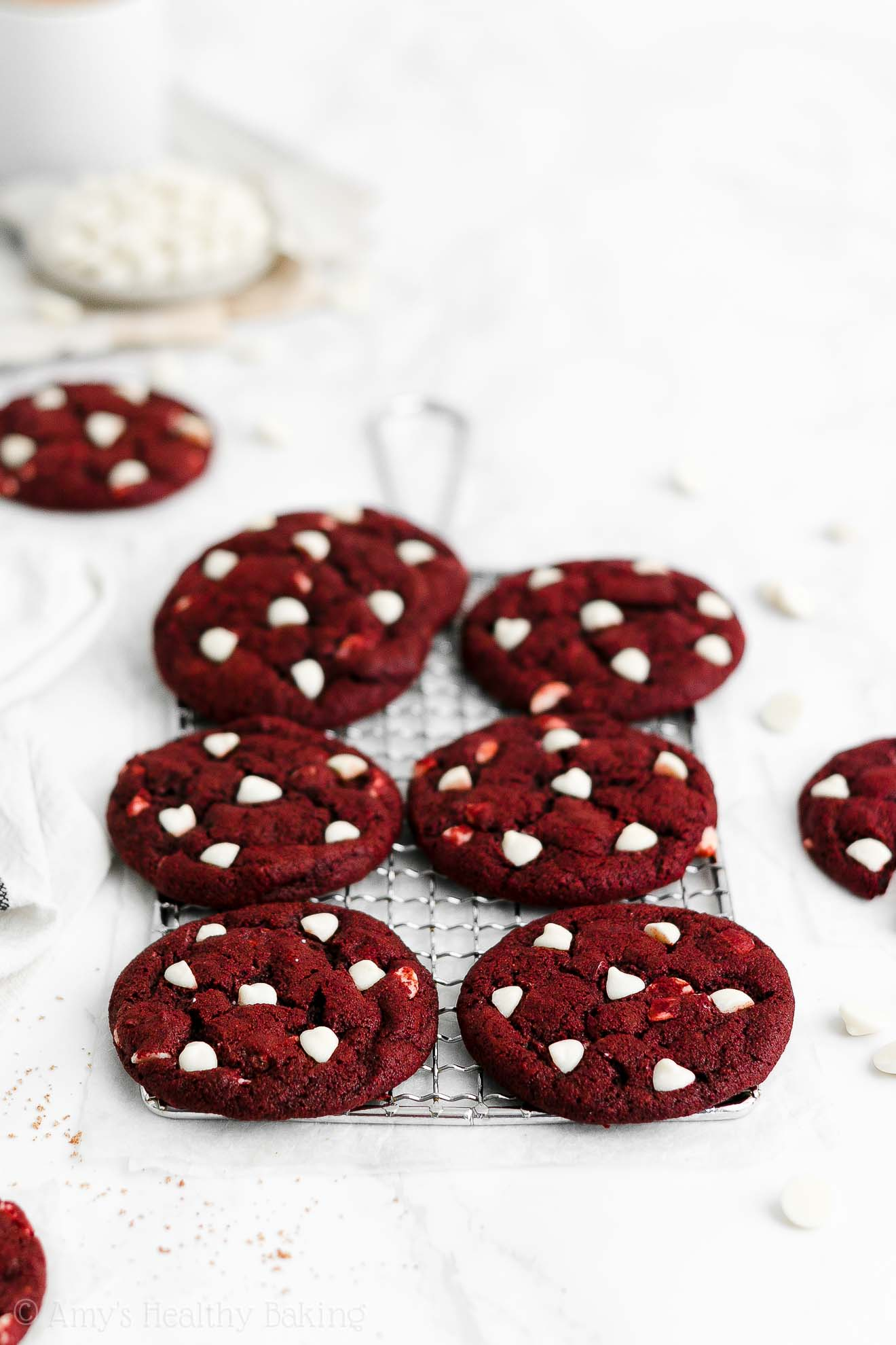 Easy Healthy Low Calorie Weight Watchers White Chocolate Red Velvet Cookies