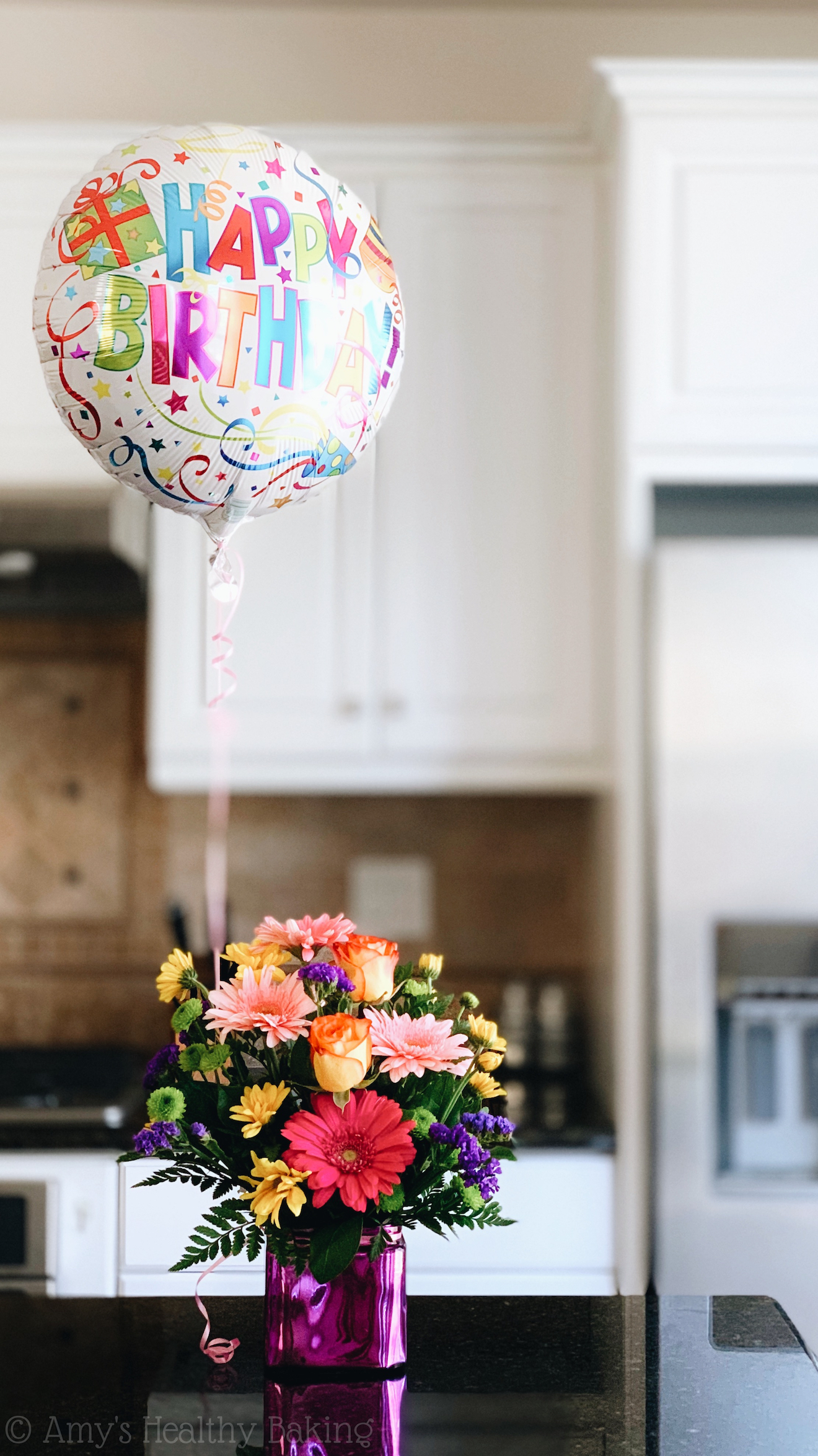 happy birthday balloon & flower bouquet, plus reflections on turning 30