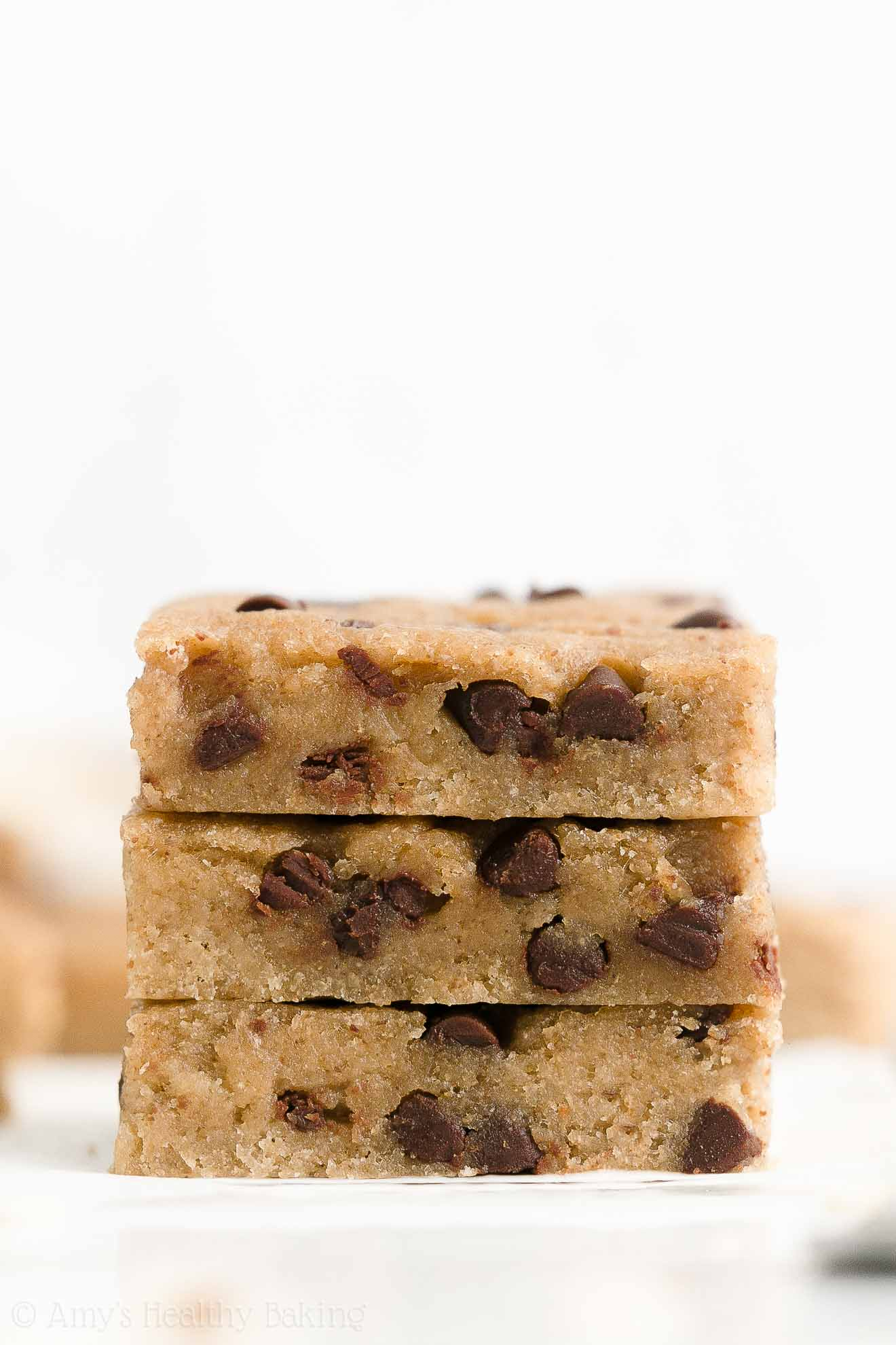 Healthy Low Calorie Gluten Free Vegan Chocolate Chip Almond Butter Cookie Bars