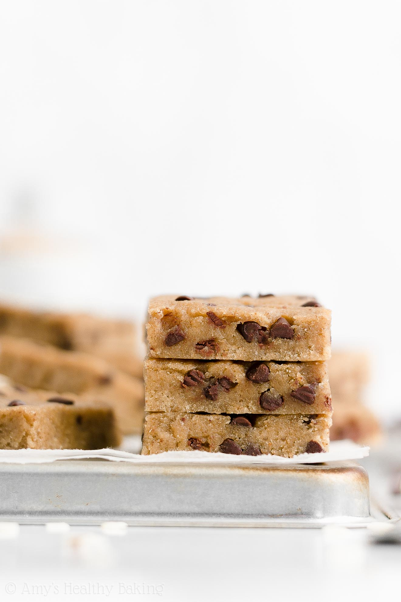 Healthy Gluten Free Sugar Free Oat Flour Chocolate Chip Almond Butter Cookie Bars