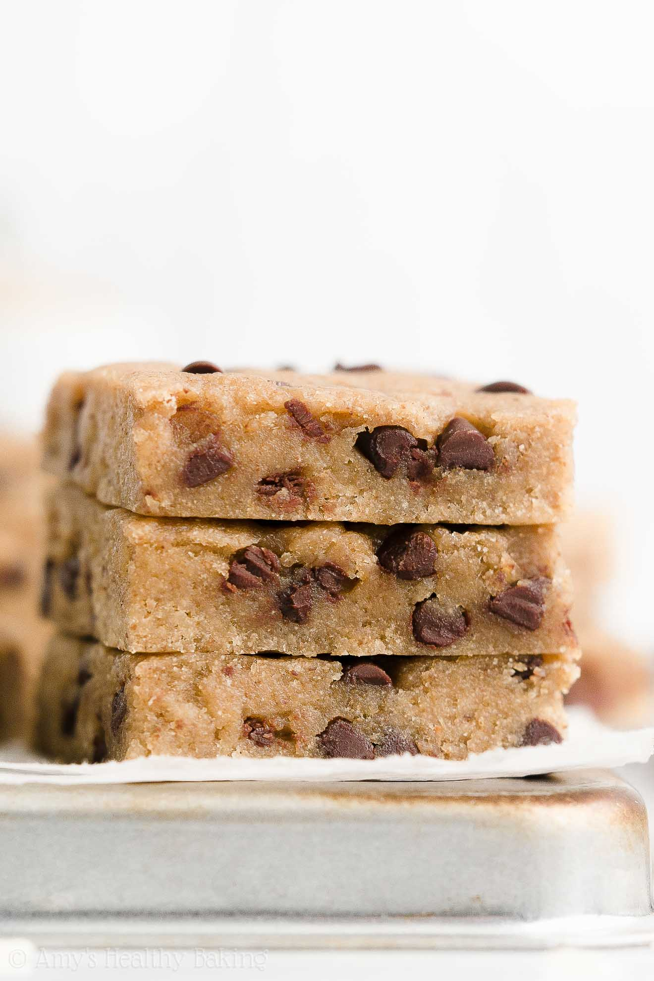 Healthy Low Fat Vegan Flourless Chocolate Chip Almond Butter Cookie Bars No Sugar