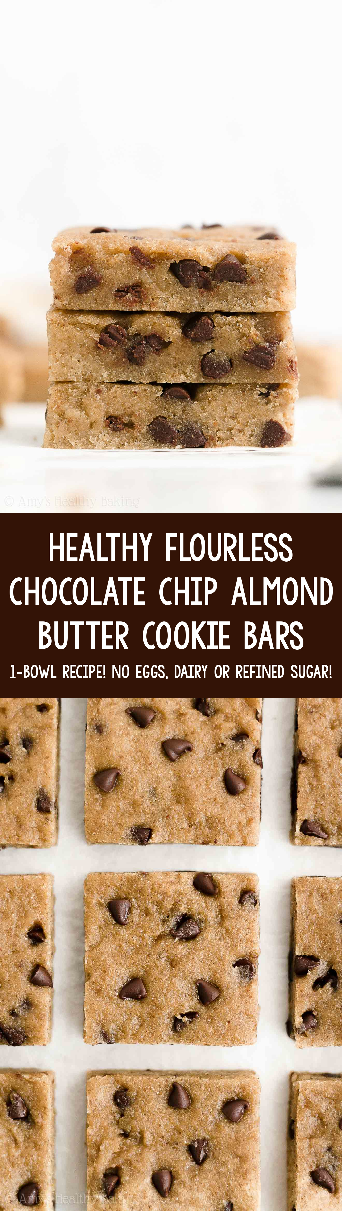Easy Healthy Gluten Free Vegan Sugar Free Chocolate Chip Almond Butter Cookie Bars