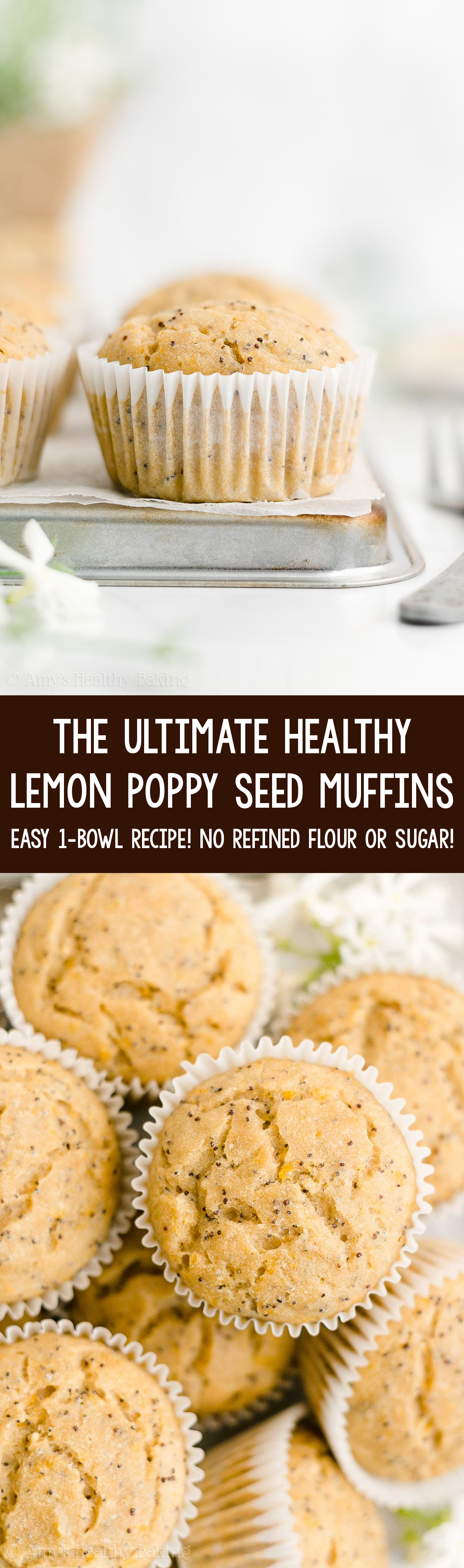 Best Ever Easy Healthy Clean Eating Low Calorie Moist Lemon Poppy Seed Muffins