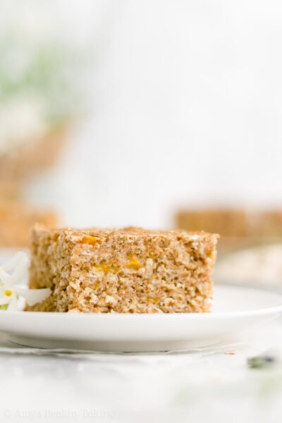Healthy Peach Oatmeal Breakfast Cake