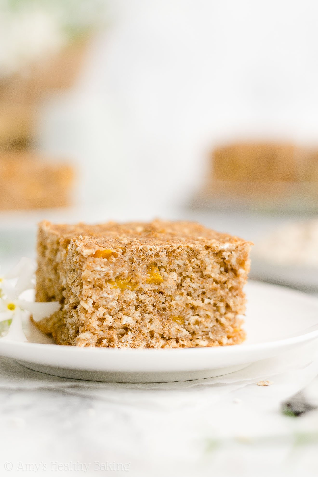 Easy Healthy Low Calorie Gluten Free Canned Peach Oatmeal Breakfast Cake