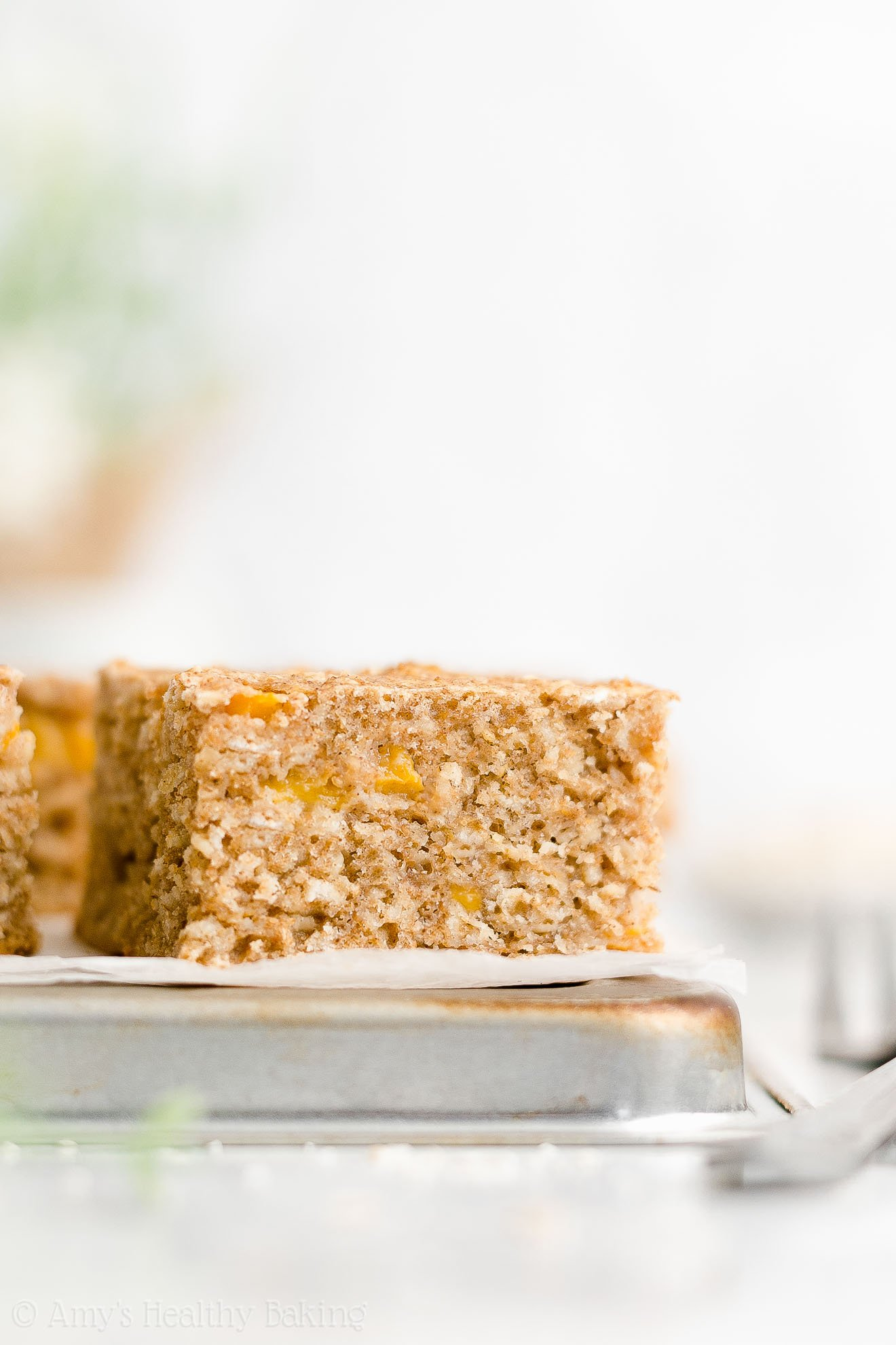 Easy Healthy Whole Wheat Greek Yogurt Fresh Peach Oatmeal Breakfast Cake