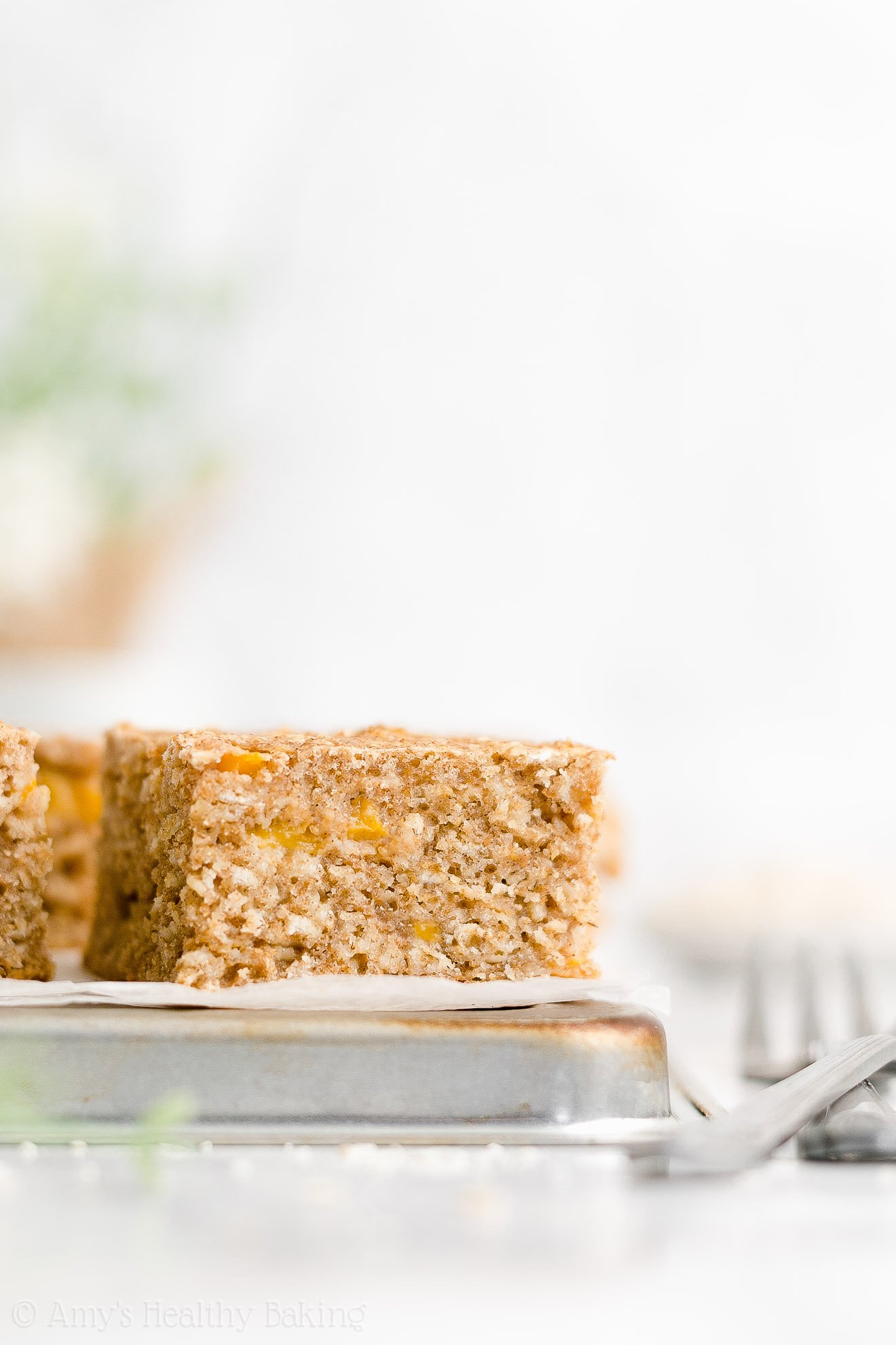 Easy Healthy Whole Wheat Moist Greek Yogurt Fresh Peach Oatmeal Snack Cake