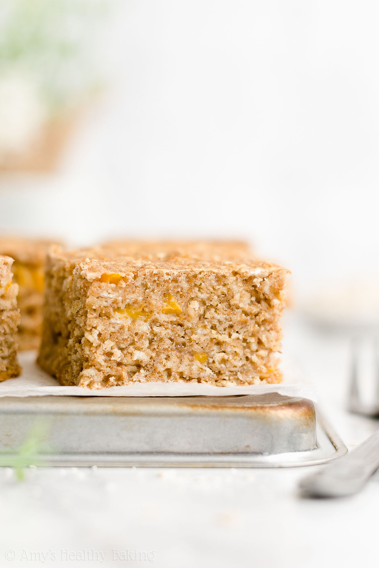 Easy Healthy Low Fat Whole Wheat Yogurt Canned Peach Oatmeal Breakfast Cake