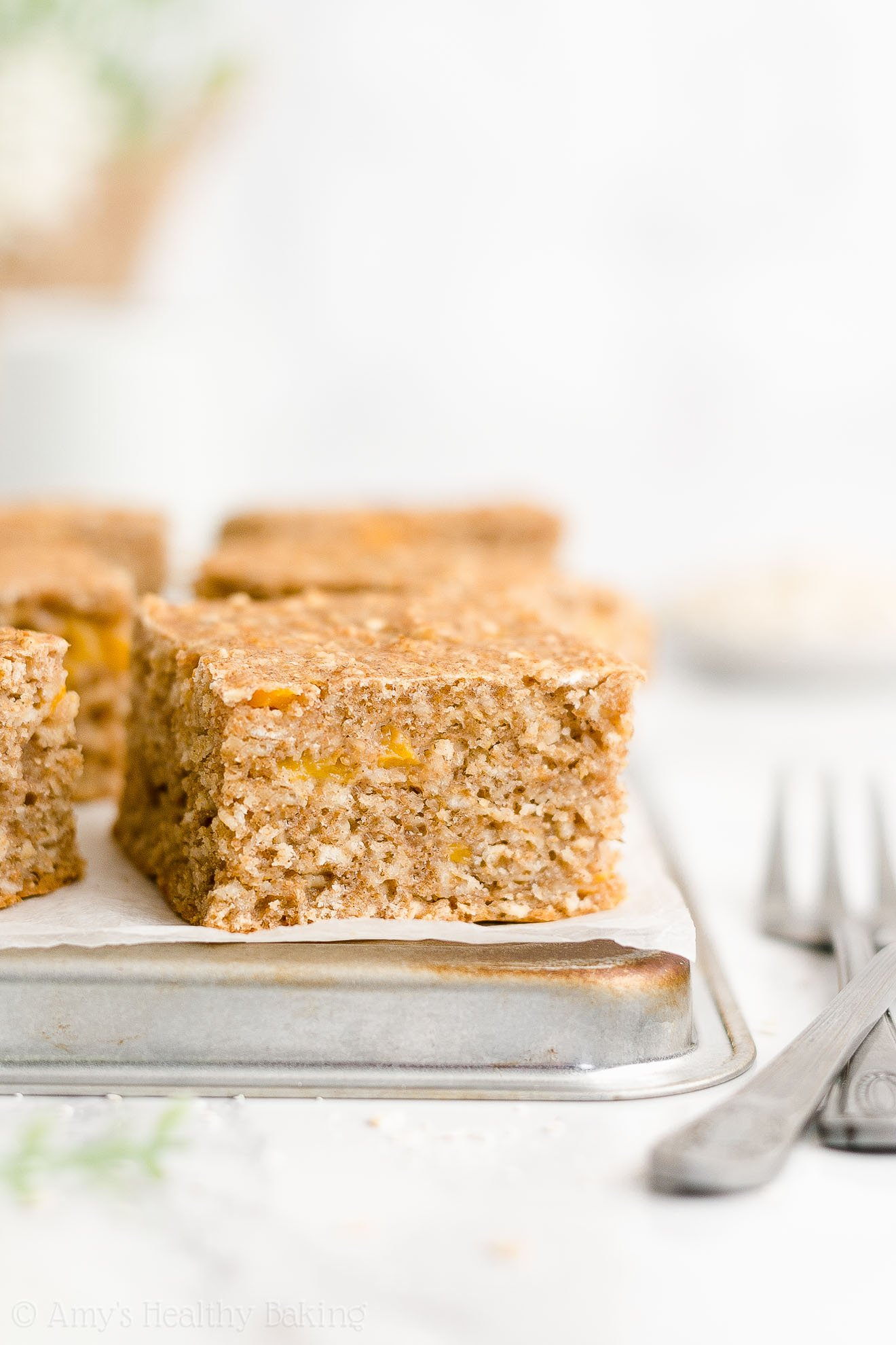 Best Easy Healthy Whole Wheat Low Sugar Canned Peach Oatmeal Breakfast Cake