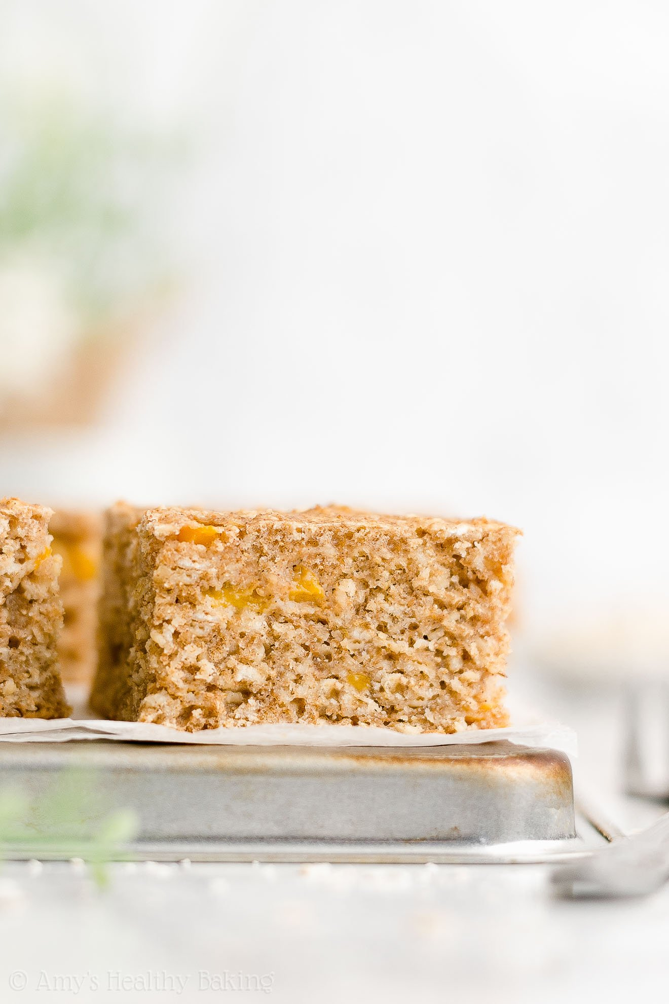 Healthy Clean Eating Low Calorie Greek Yogurt Peach Oatmeal Breakfast Cake