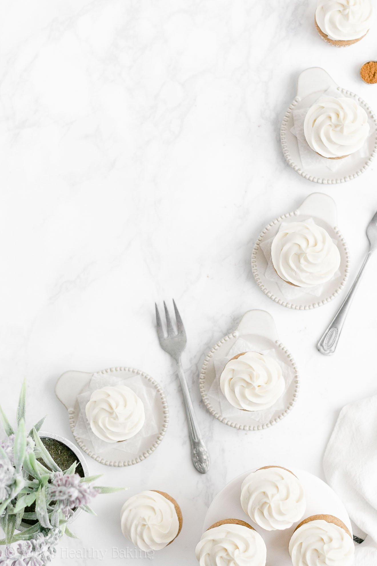 Healthy Mini Snickerdoodle Cupcakes with Cinnamon Greek Yogurt Frosting