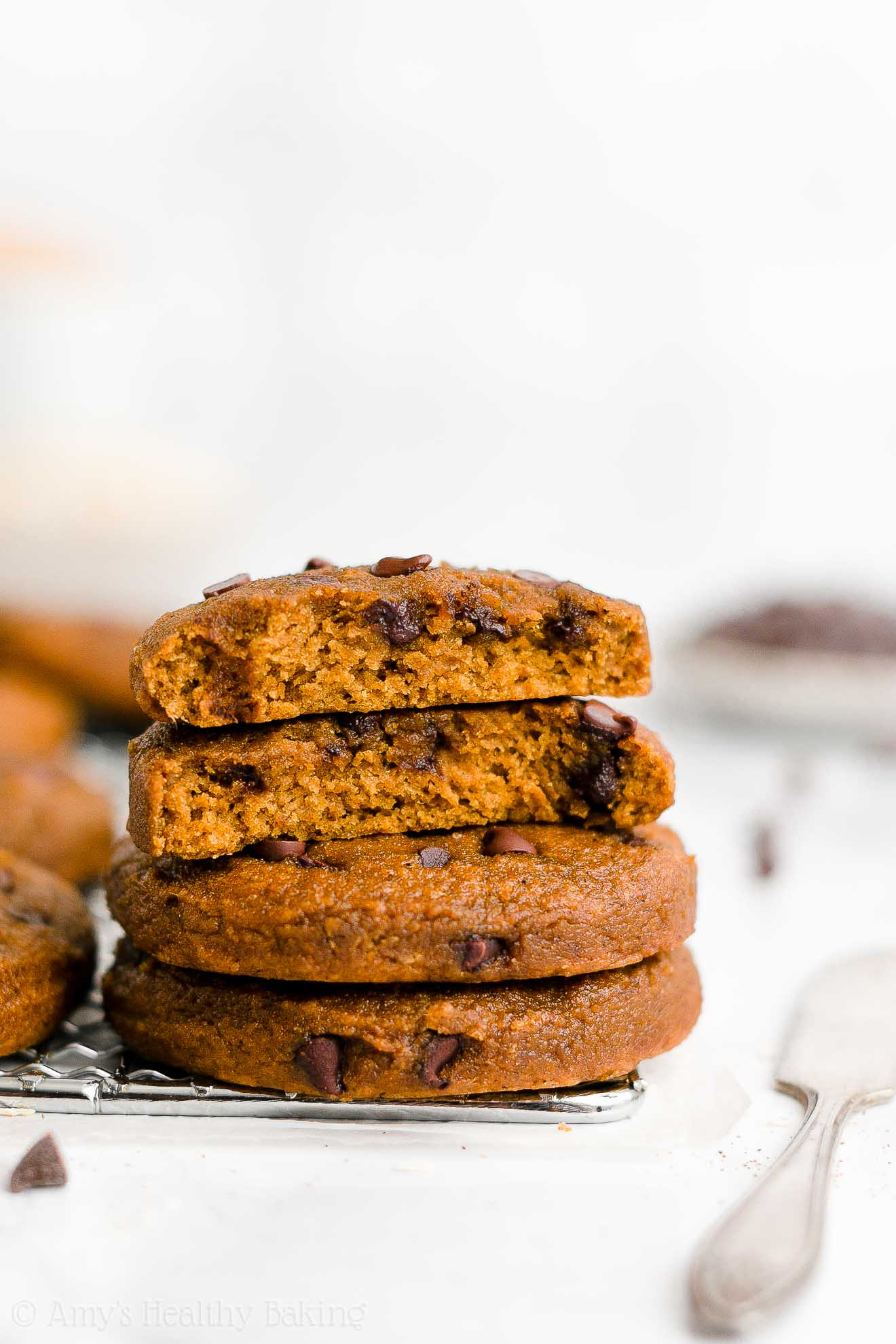 Healthy Dairy Free Weight Watchers Flourless Pumpkin Chocolate Chip Cookies