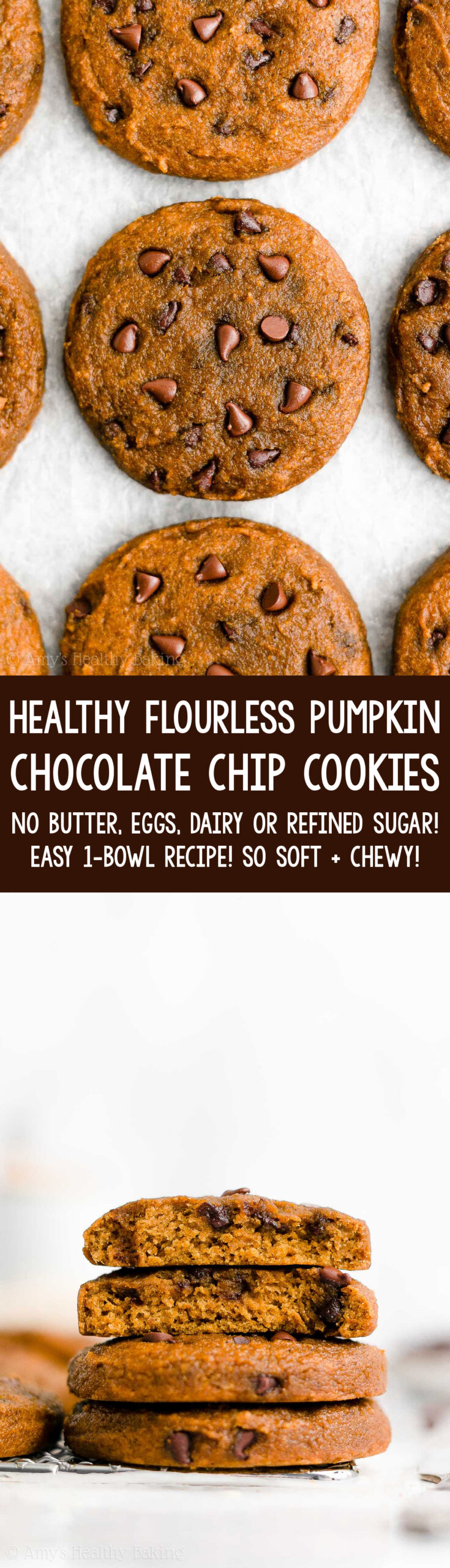 Best Ever Easy Healthy Gluten Free Vegan Soft Chewy Pumpkin Chocolate Chip Cookies