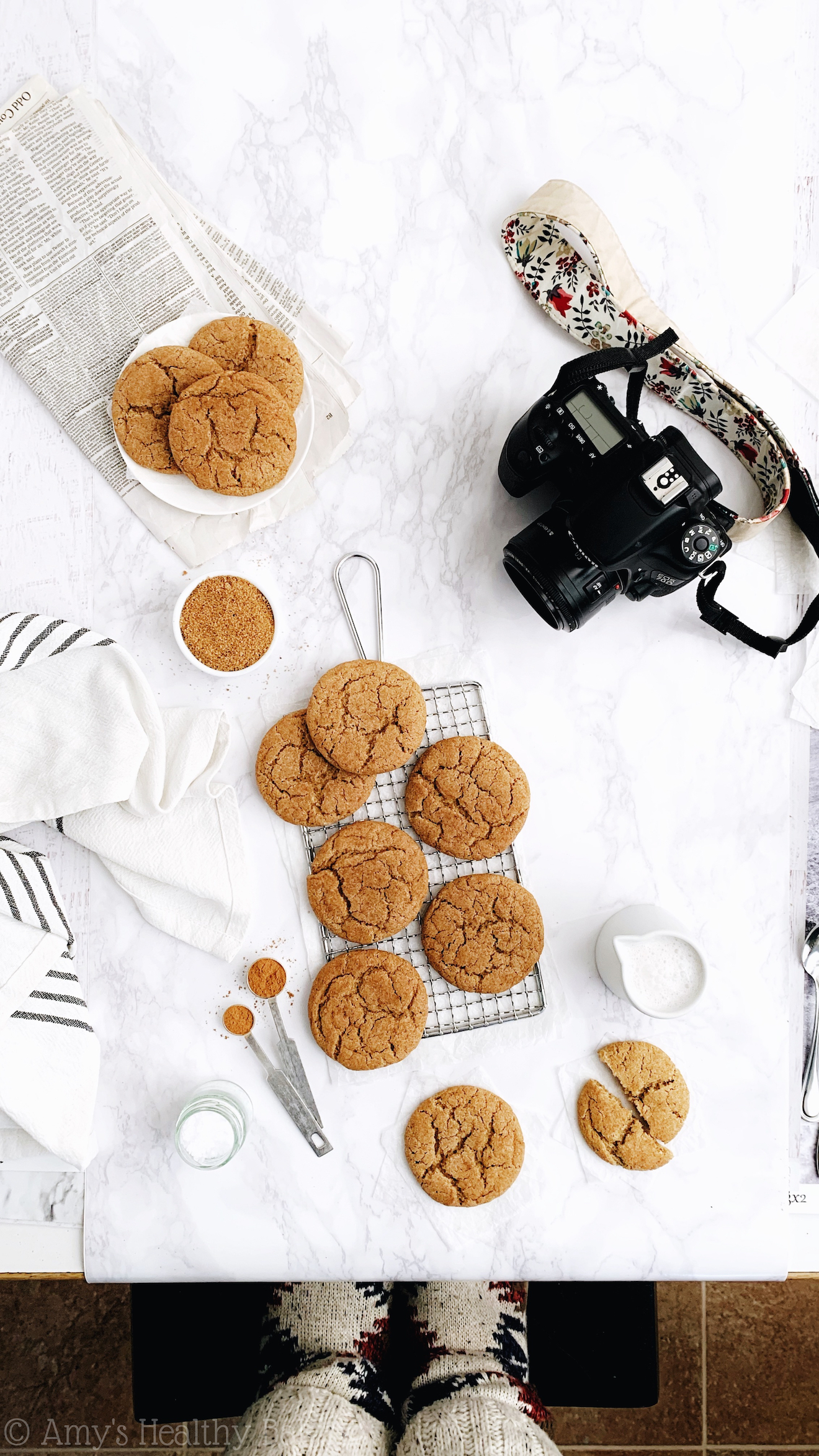 behind the scenes of the ultimate healthy snickerdoodle cookies photo shoot with Amy Atherton from Amy's Healthy Baking