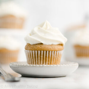 Healthy Mini Snickerdoodle Cupcakes – sweet, moist, & easy to make! They really do taste EXACTLY like buttery snickerdoodle cookies! Even with no refined flour or sugar! ♡ easy snickerdoodle cupcakes recipe from scratch. best snickerdoodle cupcakes. low calorie clean eating spice cupcakes. homemade ww sugar free cinnamon cupcakes.