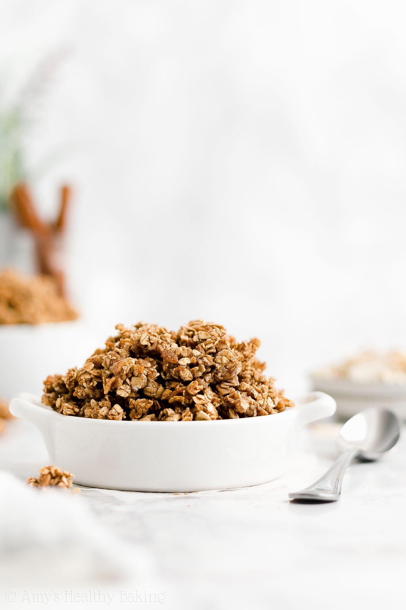 easy healthy clean eating whole grain low sugar oil free cinnamon granola